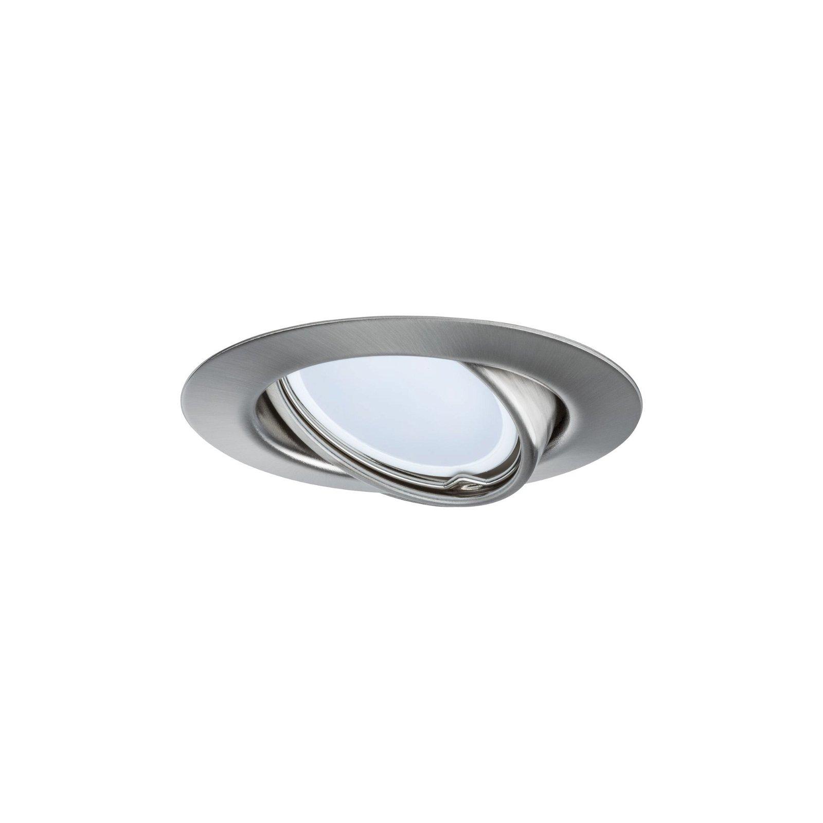 LED-inbouwlamp Base Basisset zwenkbaar rond 90mm 20° GU10 3x4,5W 3x350lm 230V 3000K Staal geborsteld
