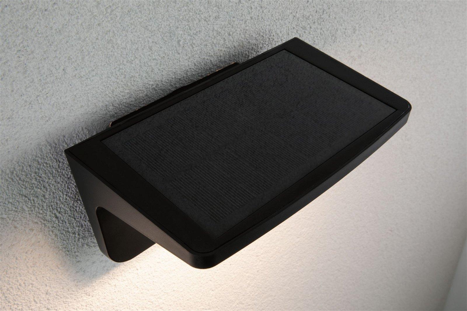 Solar LED Außenwandleuchte Solar Cyrus inkl. Bewegungsmelder und Orientierungslicht IP44 3000K 600lm Anthrazit