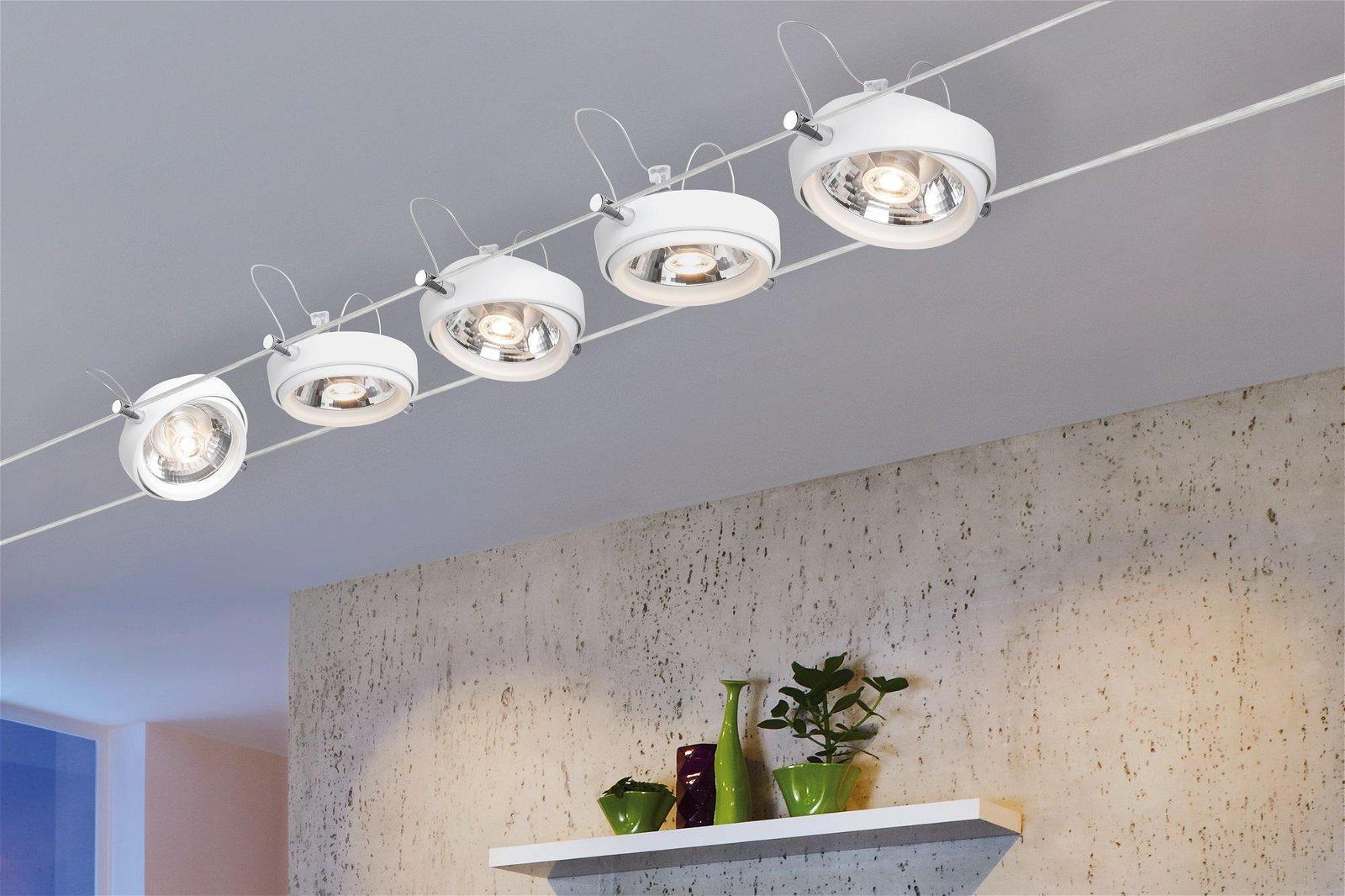 LED Seilsystem Powerline II Einzelspot 500lm 8W 2700K 12V Weiß