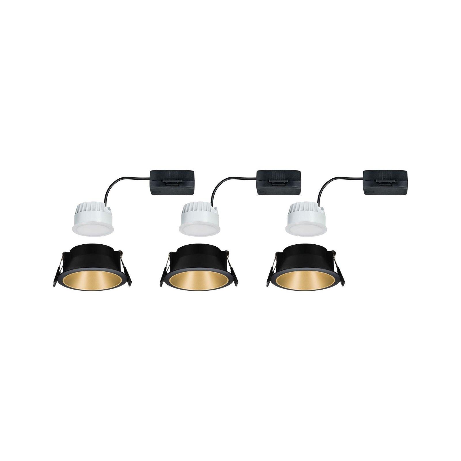 Spot encastré LED 3-Step-Dim Cole Coin Kit de base IP44 rond 88mm Coin 3x6,5W 3x460lm 230V 2700K Noir/Doré mat