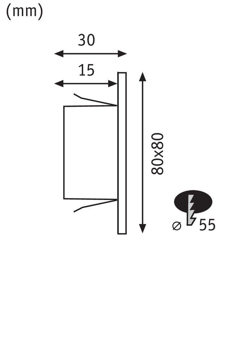 LED Wandeinbauleuchte Edge Quadro eckig 80x5mm 1,2W 100lm 230V 2700K Chrom matt
