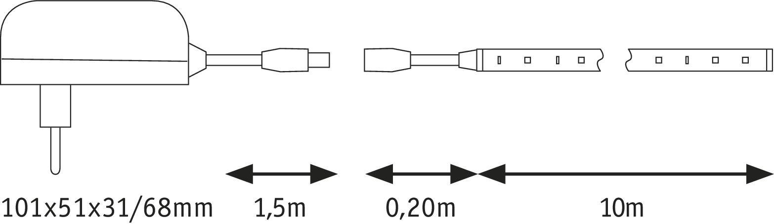 SimpLED LED Strip Warmweiß 10m beschichtet 22W 192lm/m 60LEDs/m 3000K 36VA
