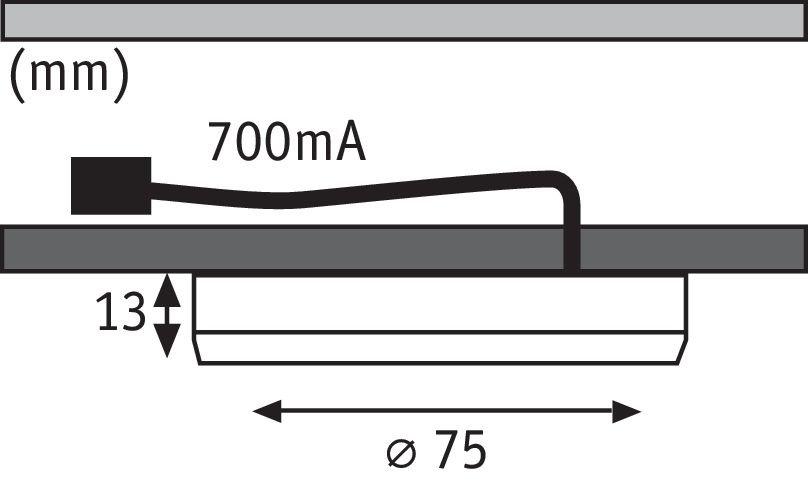 LED Unterschrankleuchte Unity 3x4,5W 75mm 3x360lm 230V rund Eisen gebürstet