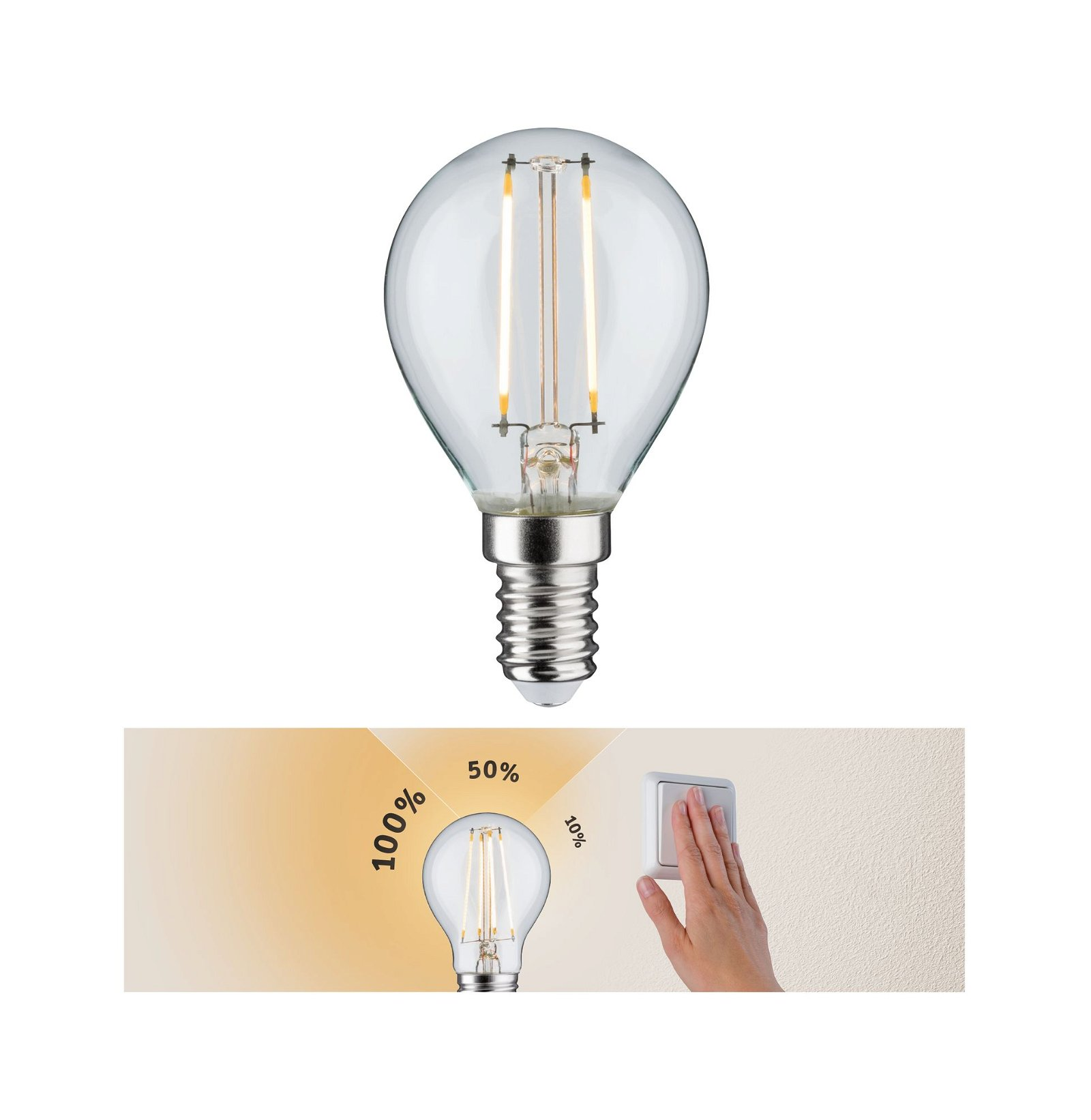 LED-kogellamp Filament E14 230V 250lm 2,5W 2700K Helder