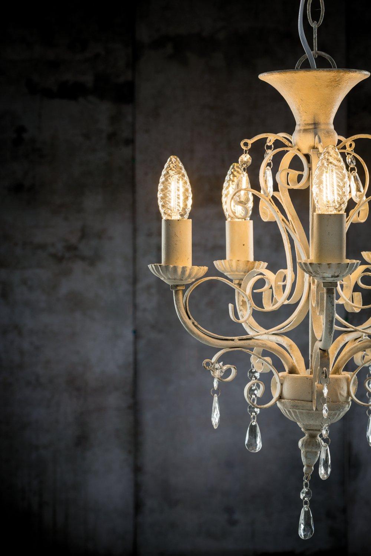 LED Kerze gedrehtes Glas E14 230V 430lm 4,7W 2500K Gold