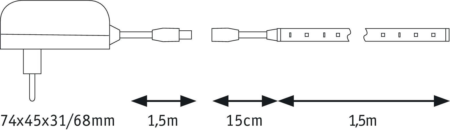 SimpLED LED Strip Warmweiß 1,5m beschichtet 5W 450lm 3000K 6VA