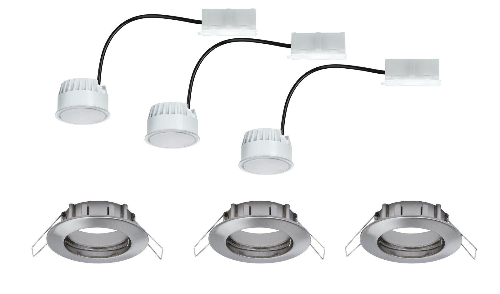 Einbauleuchte LED Coin satiniert rund 6,8W Eisen 3er-Set
