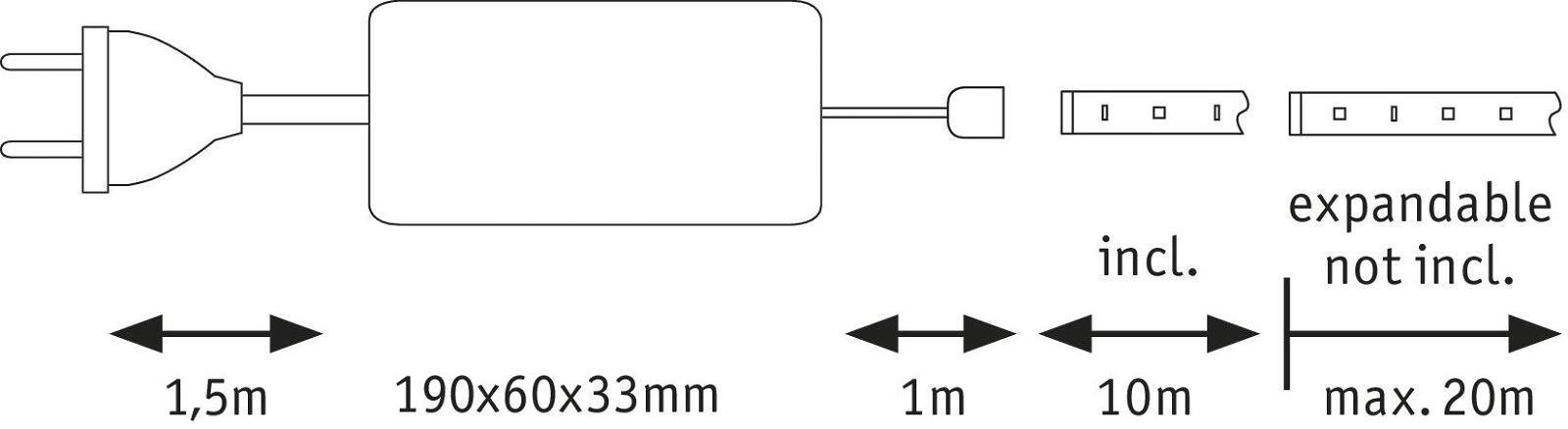MaxLED 500 LED Strip Warm wit 10m 50W 550lm/m 2700K 75VA