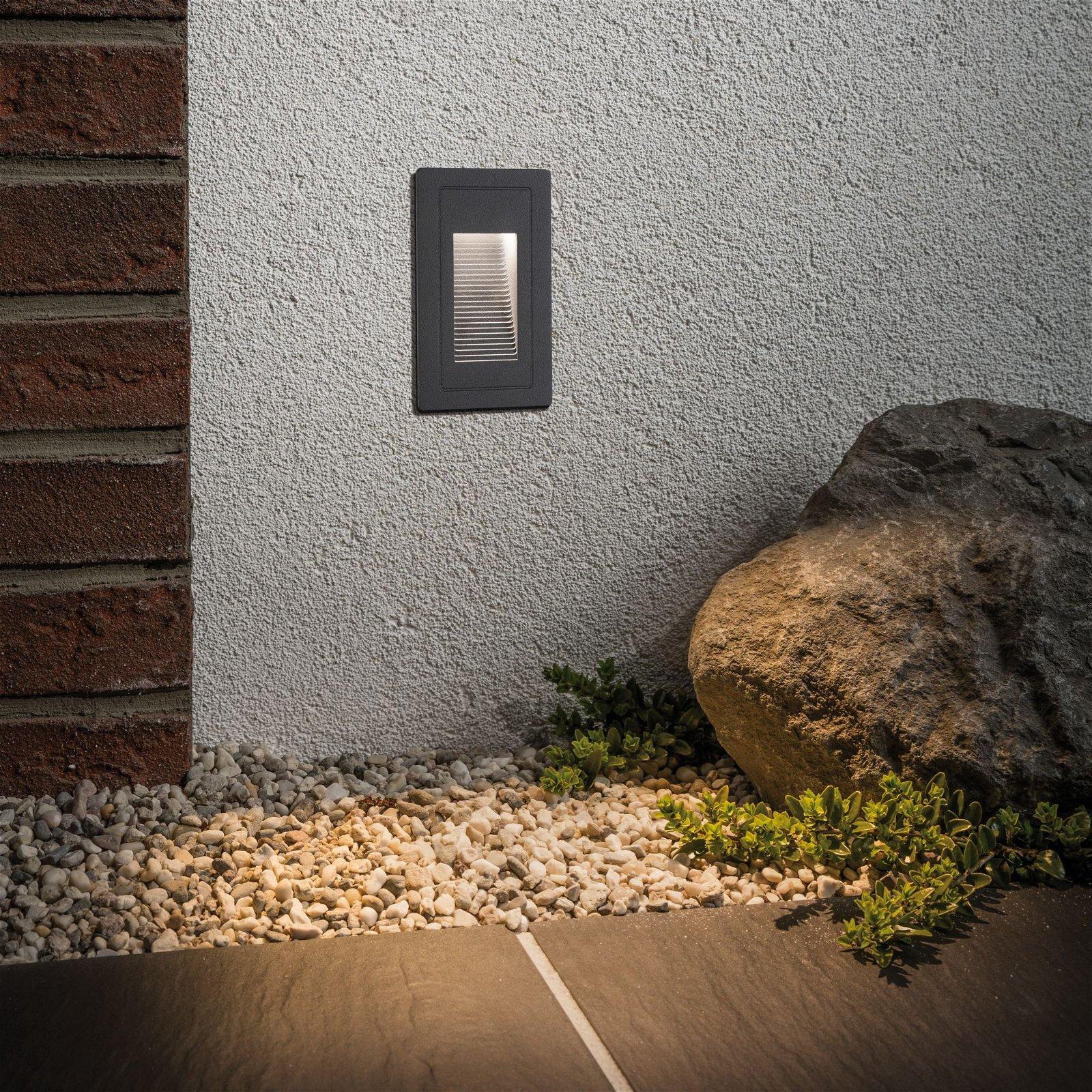 LED Außenwandeinbauleuchte High IP44 eckig 103x58mm 3000K 4W 500lm 230V Schwarz Aluminium