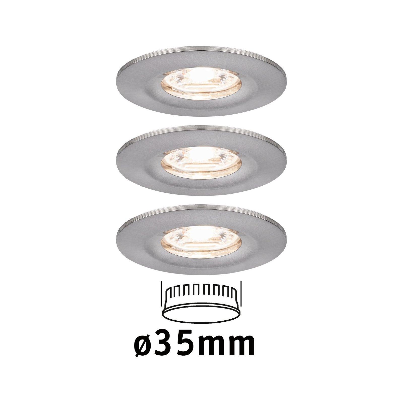 LED Einbauleuchte Nova Mini Coin Basisset starr IP44 rund 65mm Coin 3x4W 3x310lm 230V 2700K Eisen gebürstet