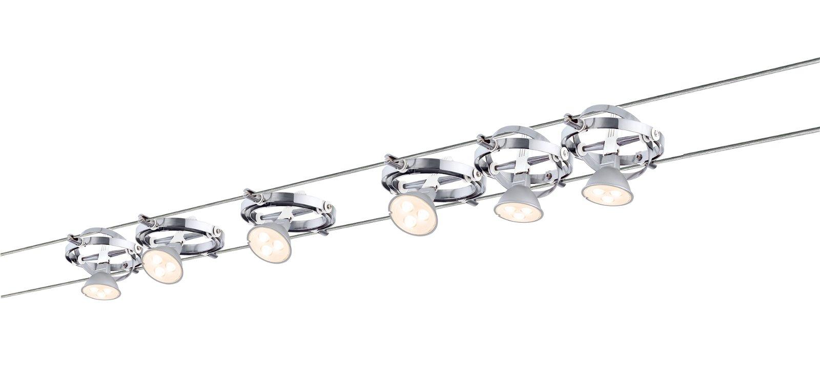 LED Cable system Cardan Basic Set GU5,3 6x4W 230/12V Chrome/White