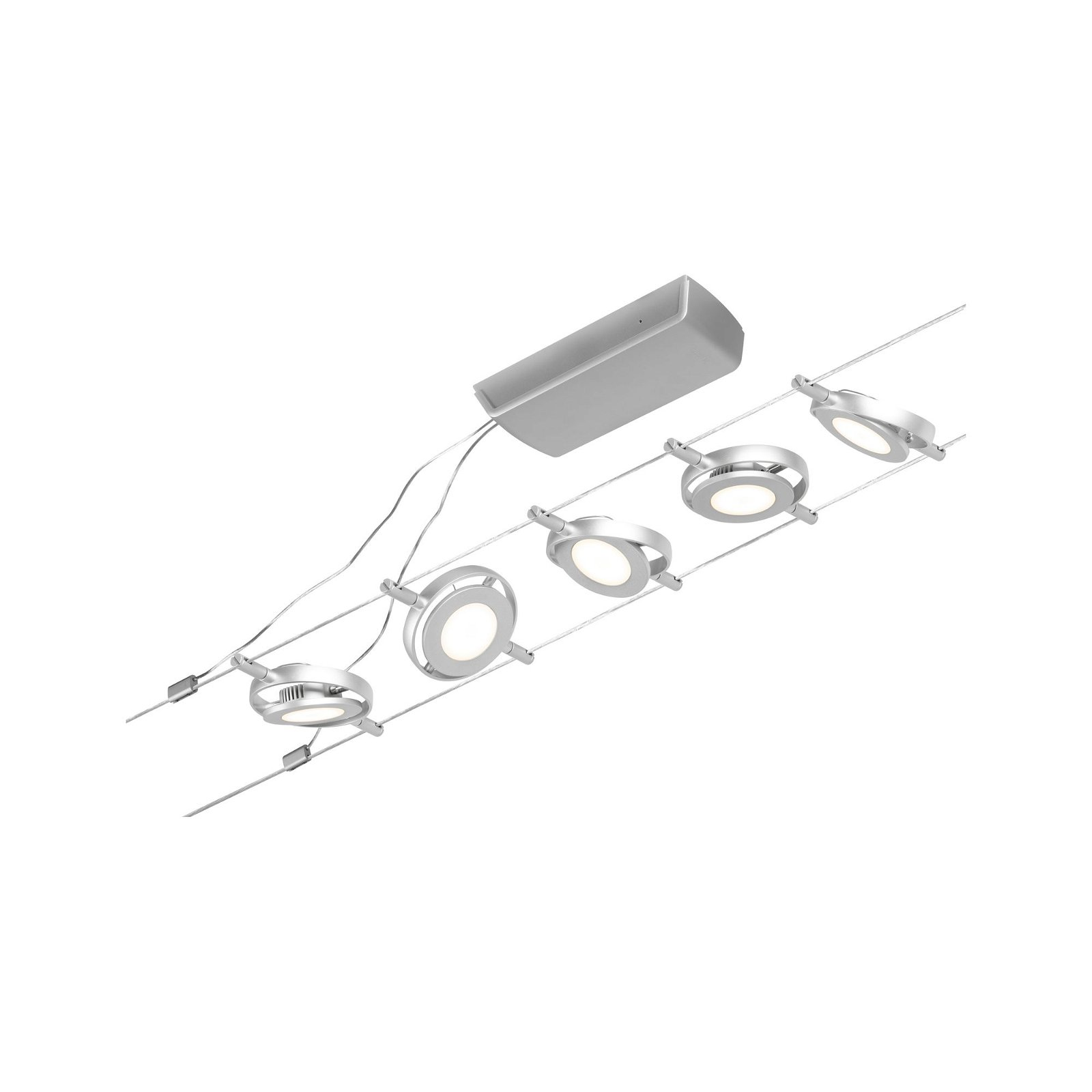LED Seilsystem RoundMac Basisset 5x450lm 5x4,5W 3000K 230/12V Chrom matt/Chrom