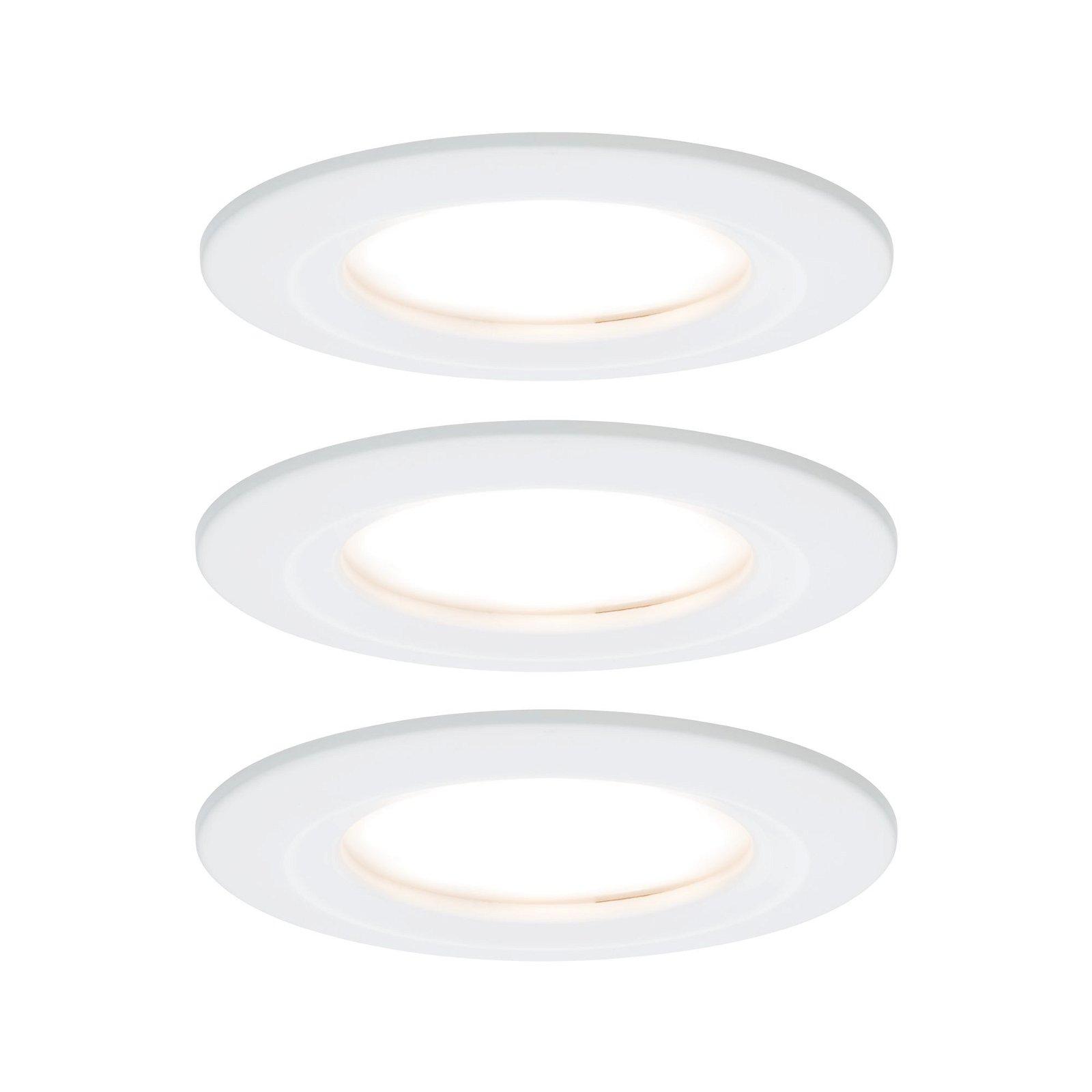 LED Einbauleuchte Nova Coin Basisset starr IP44 rund 78mm Coin 3x6,5W 3x460lm 230V 2700K Weiß matt