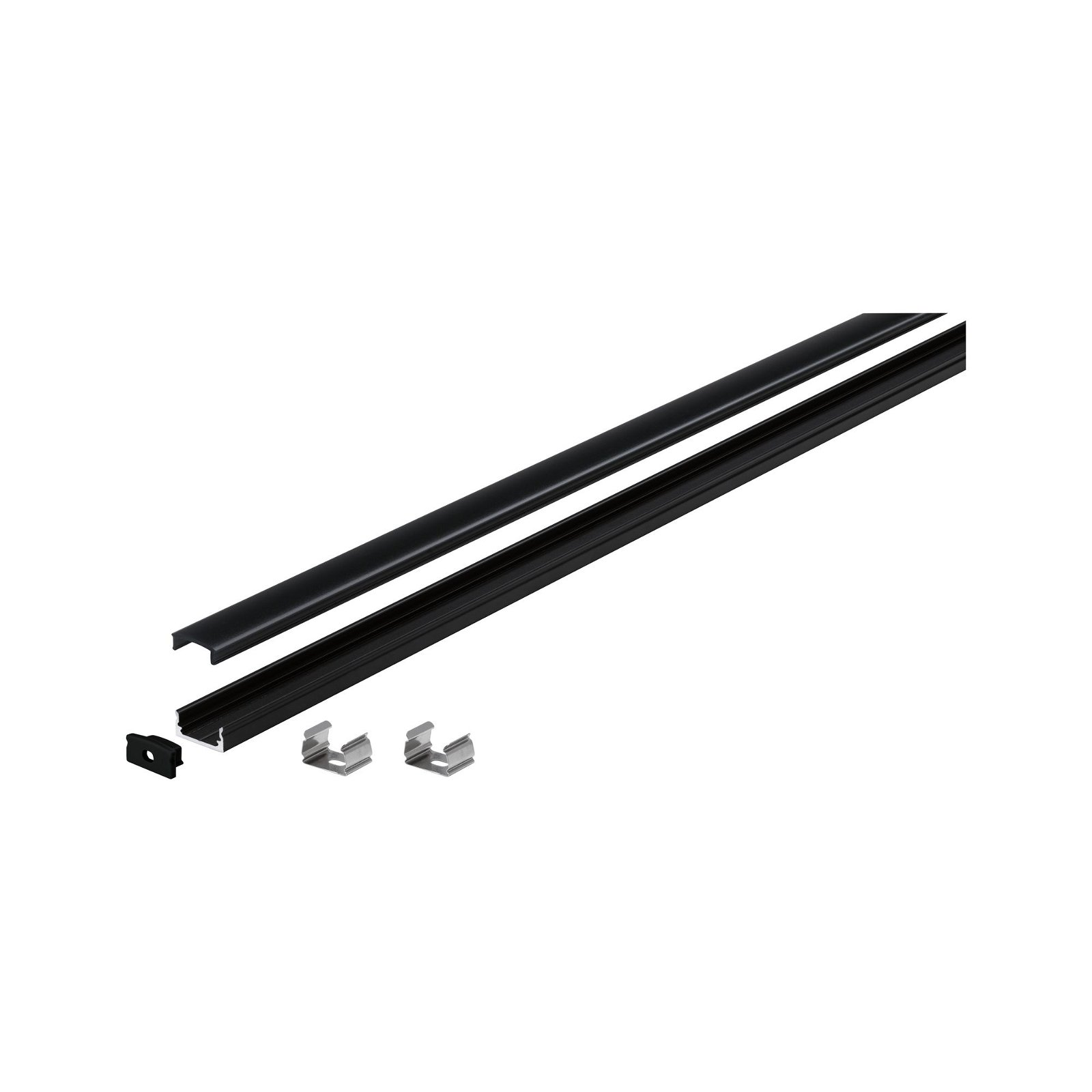 LED Strip Profil Base Schwarzer Diffusor 1m Schwarz