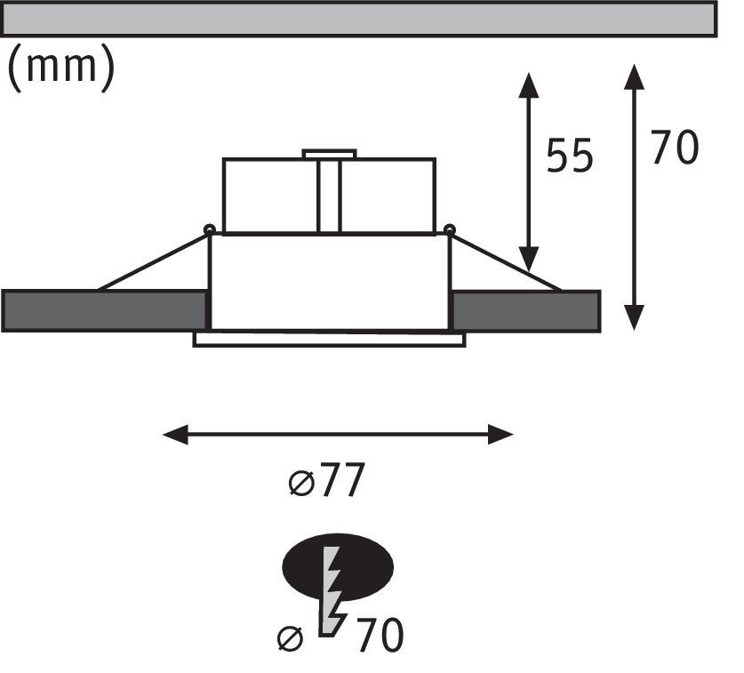 LED Einbauleuchte Cymbal Coin Basisset IP44 77mm Coin 3x6,5W 3x480lm 230V 2000 - 2700K Weiß matt