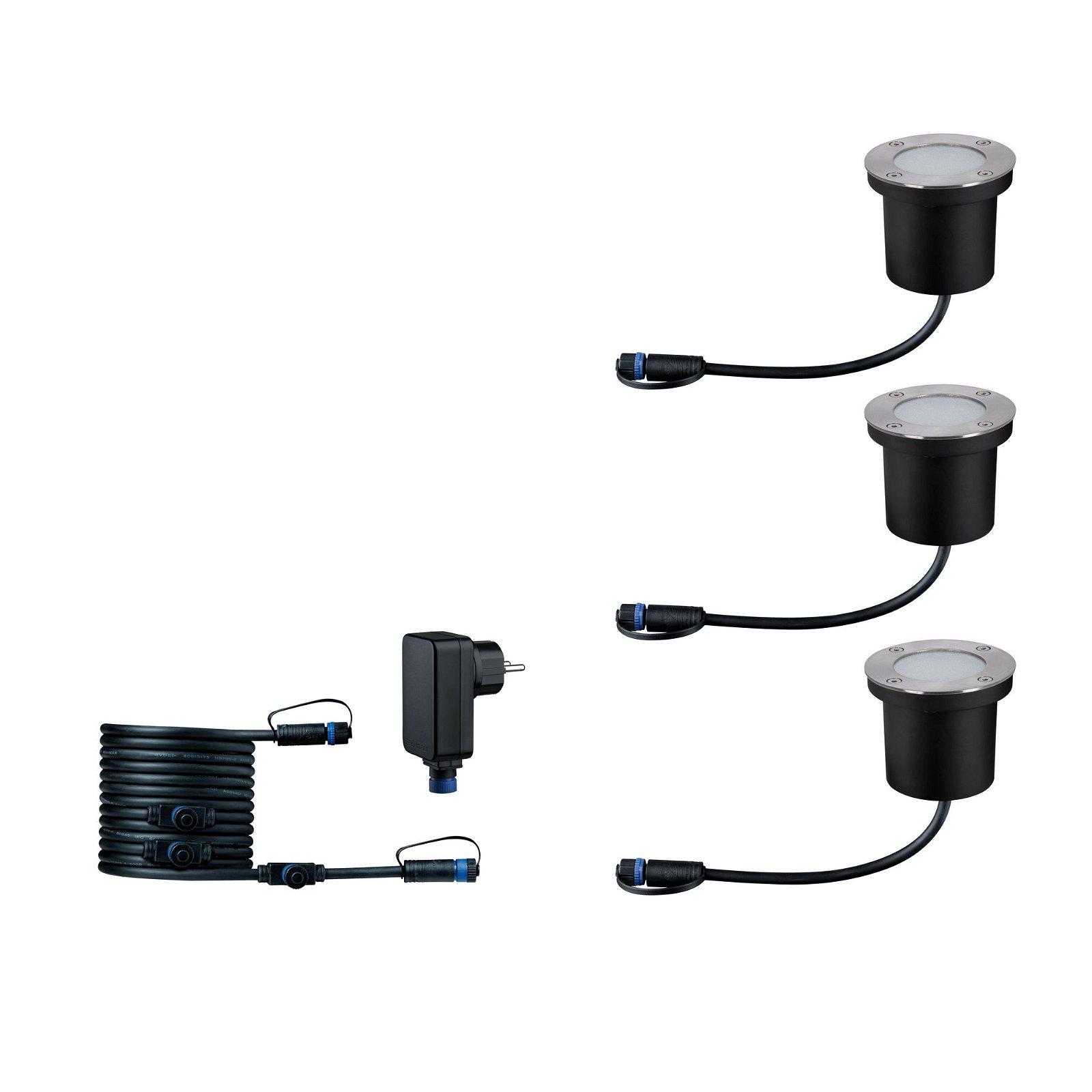 Plug & Shine LED Bodeneinbauleuchte Smart Home Zigbee RGBW Basisset IP65 RGBW 3x3,6W Silber