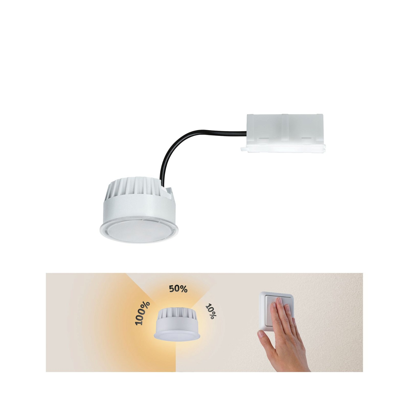 LED-module inbouwlamp 3-Step-Dim Base Coin rond 51mm Coin 5W 350lm 230V 3000K Opaal