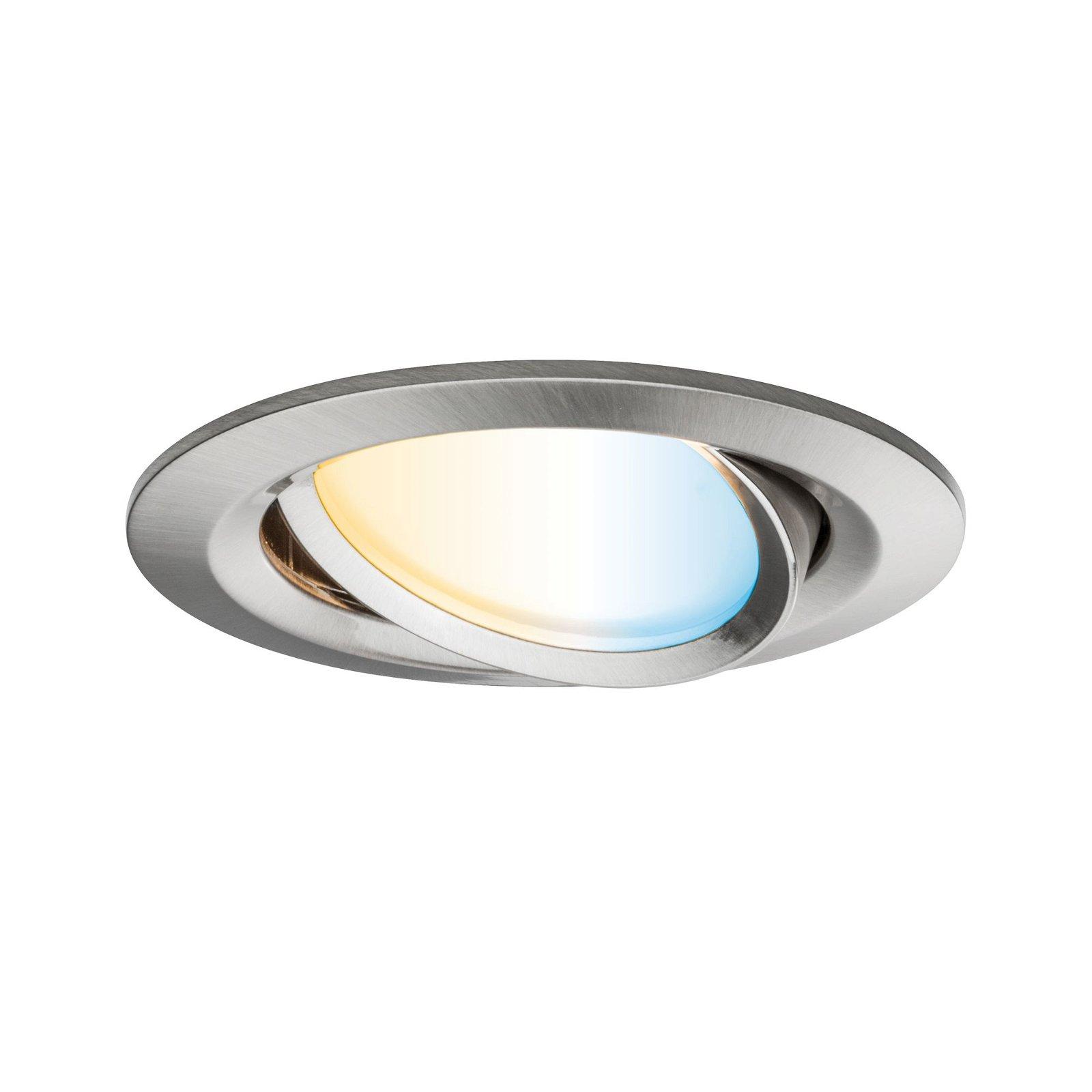 LED Einbauleuchte Smart Home Zigbee Nova Plus Coin schwenkbar rund 84mm 50° Coin 6W 470lm 230V Tunable White Eisen gebürstet