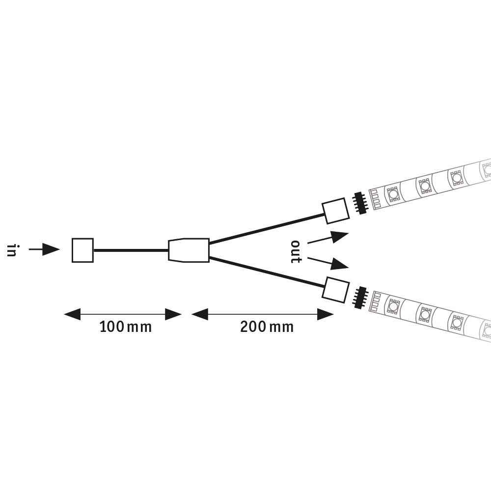 MaxLED Verbinder Y-Splitter 30x12mm max. 144W Weiß