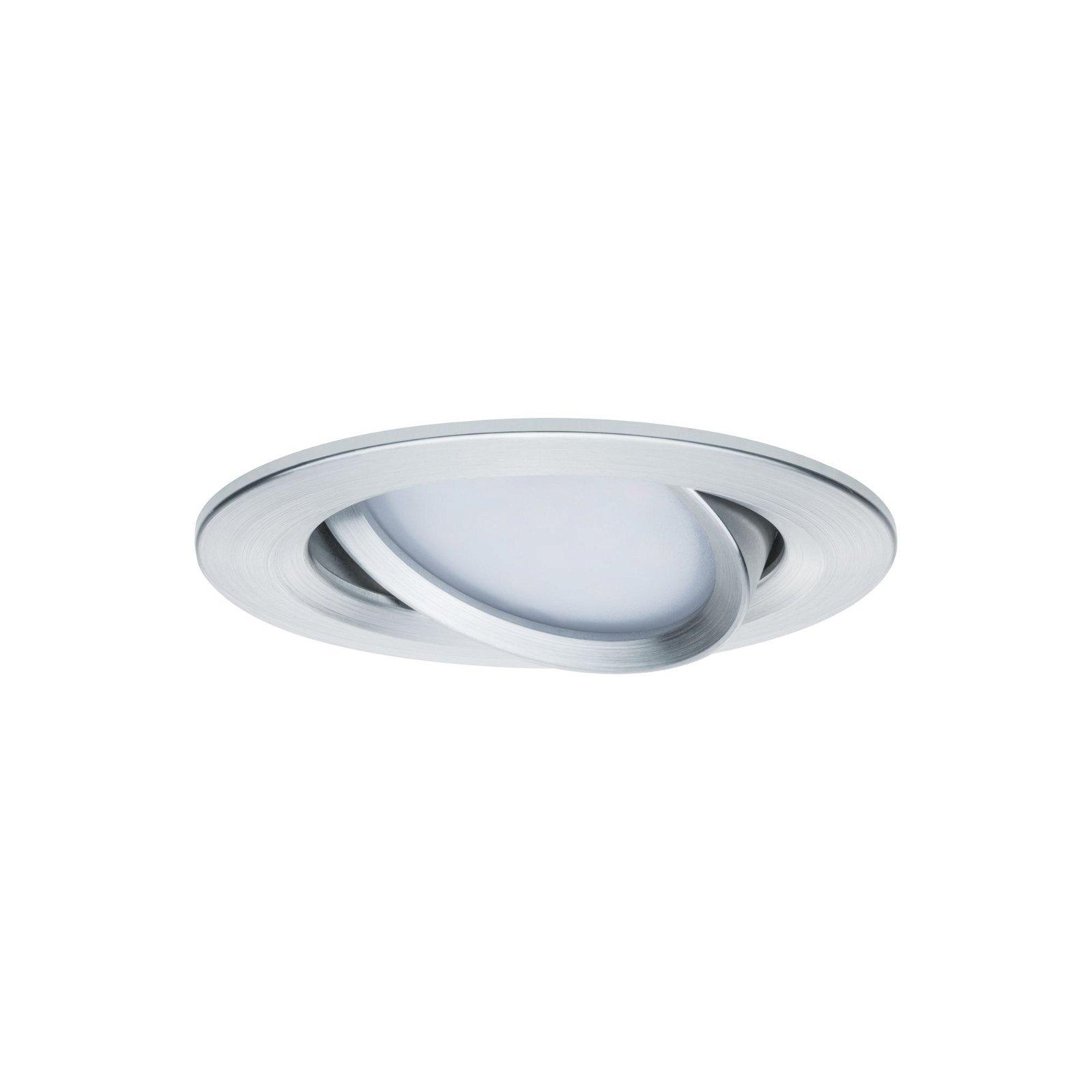 LED-inbouwlamp Nova Coin Basisset zwenkbaar rond 84mm 50° Coin 3x6,5W 3x460lm 230V 2700K Alu gedraaid