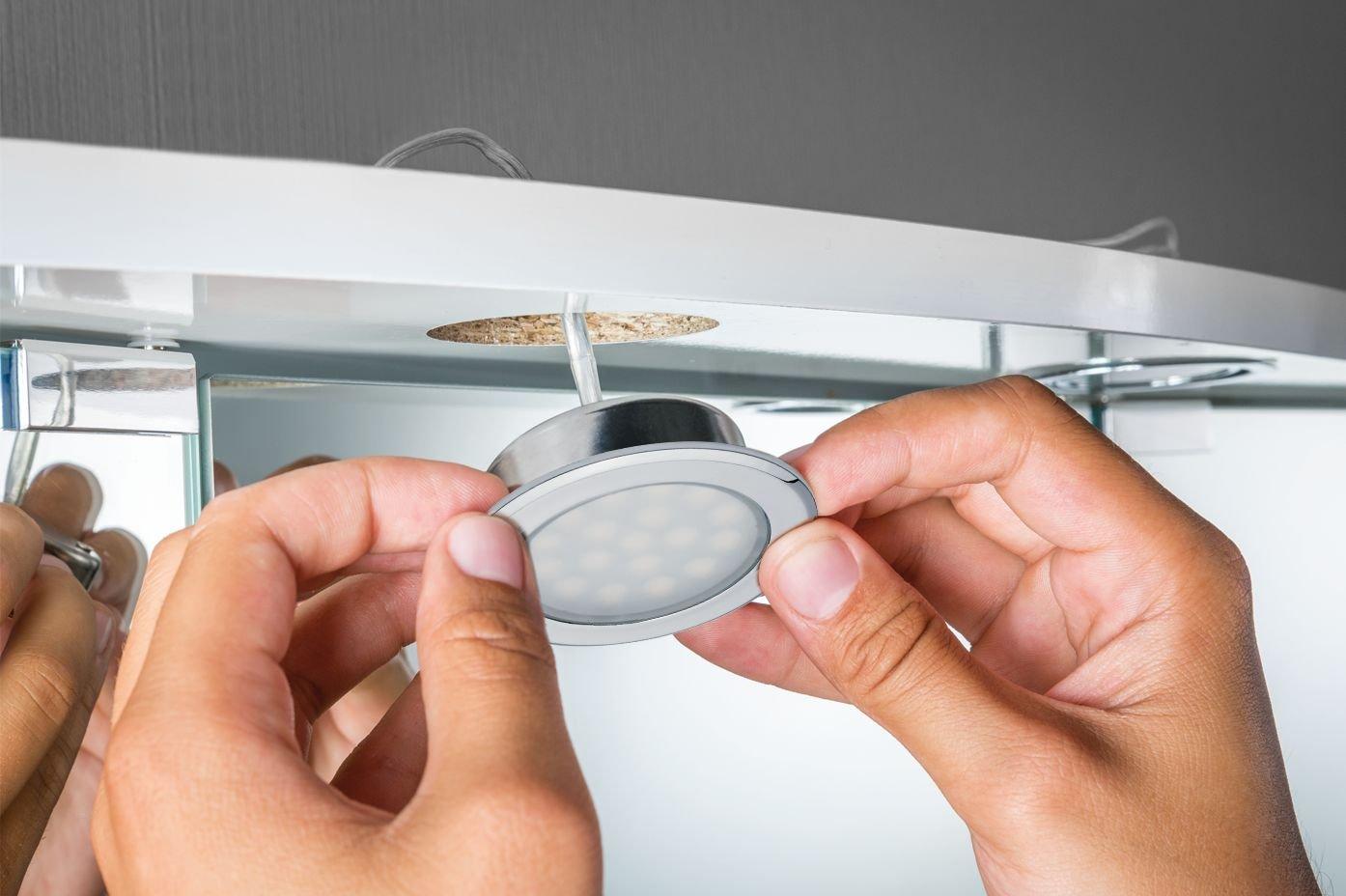 LED-meubelinbouwlampen Spiegelkast rond 65mm 2x2,5W 2x225lm 230/12V 3000K Chroom