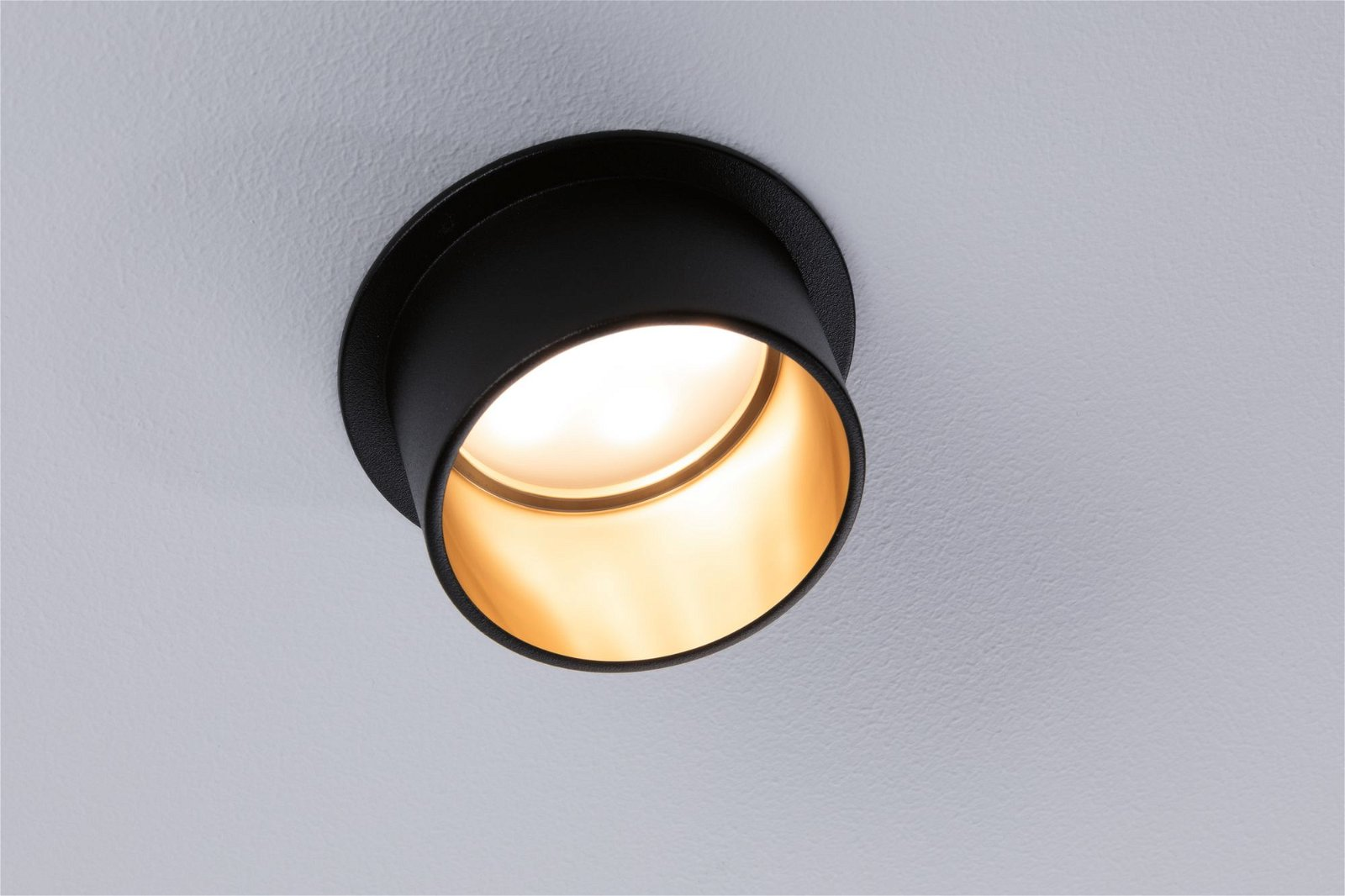 LED Recessed luminaire 3-Step-Dim Gil Coin Basic Set IP44 round 68mm Coin 3x6W 3x470lm 230V 2700K Black matt/Gold