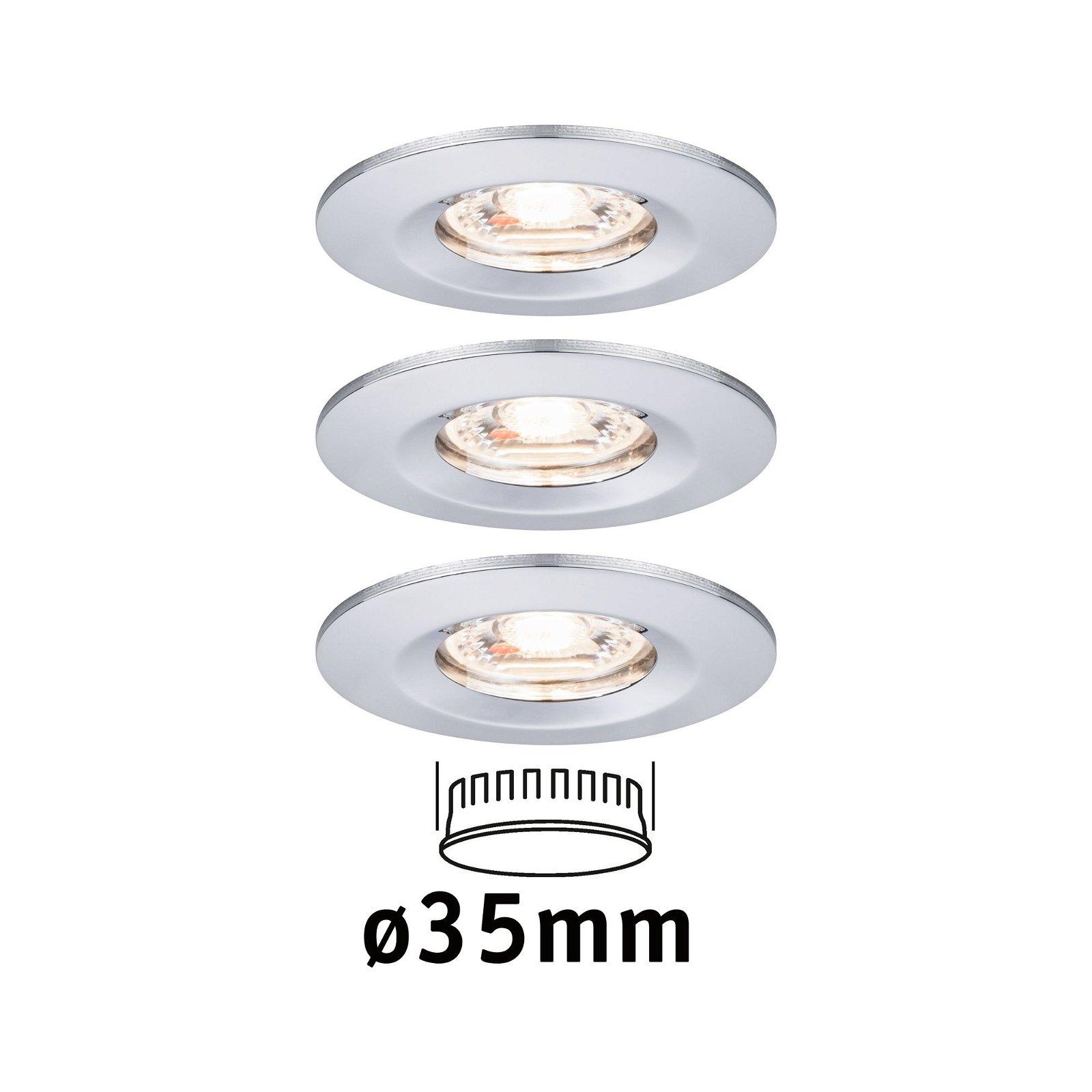 LED Einbauleuchte Nova Mini Basisset starr IP44 rund 65mm Coin 3x4W 3x310lm 230V 2700K Chrom