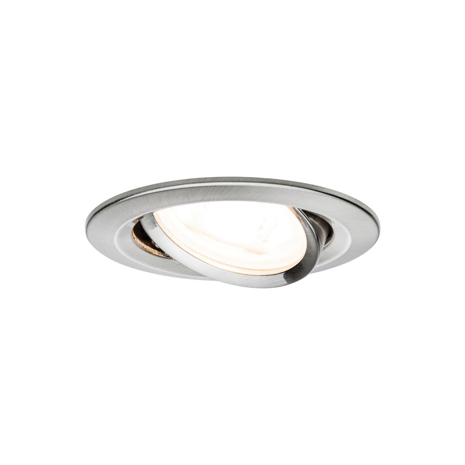 LED-inbouwlamp Nova Basisset zwenkbaar rond 84mm 50° GU10 3x6,5W 230V 2700K Staal geborsteld