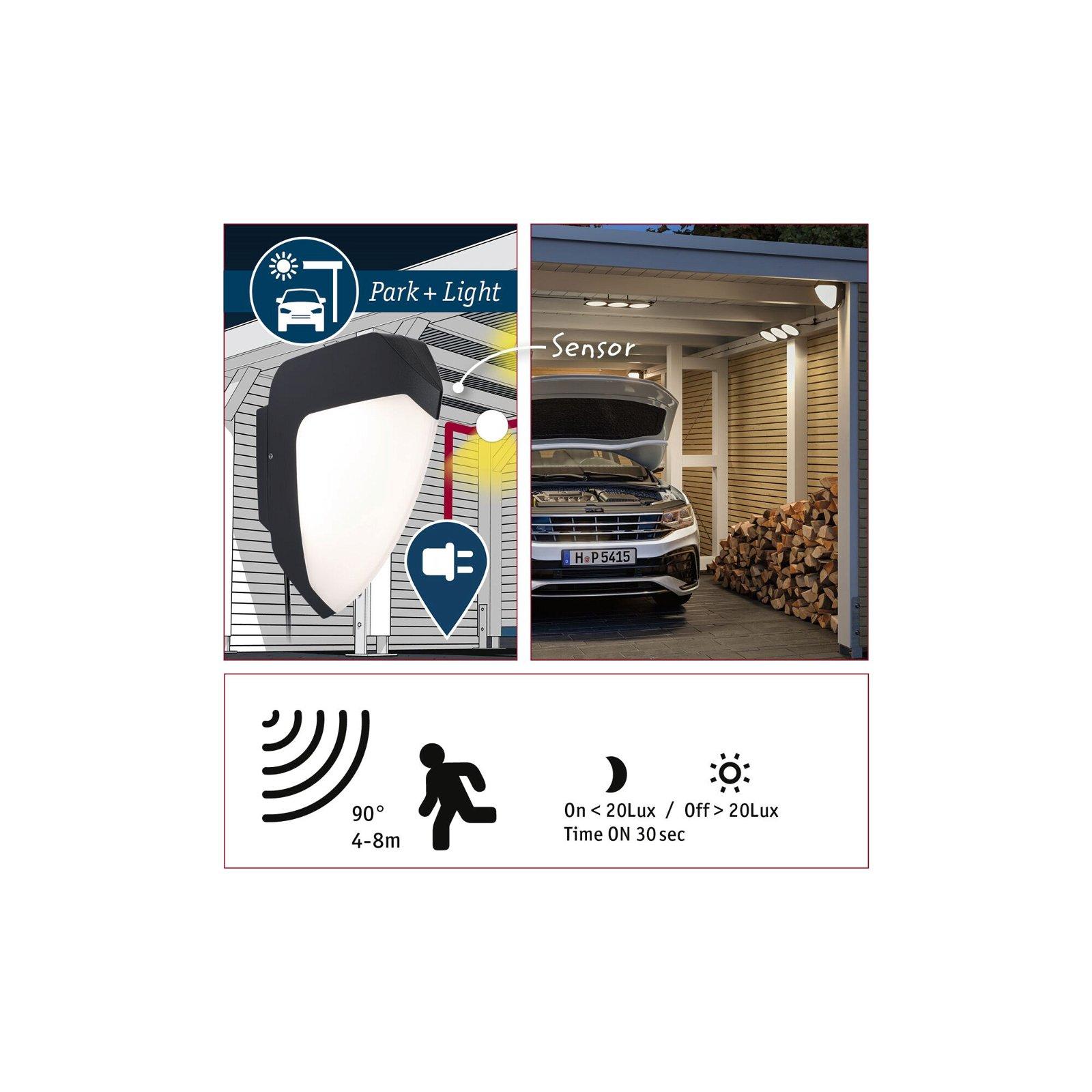 Park + Light LED-wandarmatuur voor buiten Ikosea incl. bewegingsmelder IP44 50x203mm 3000K 5,6W 300lm 12V Antraciet Kunststof