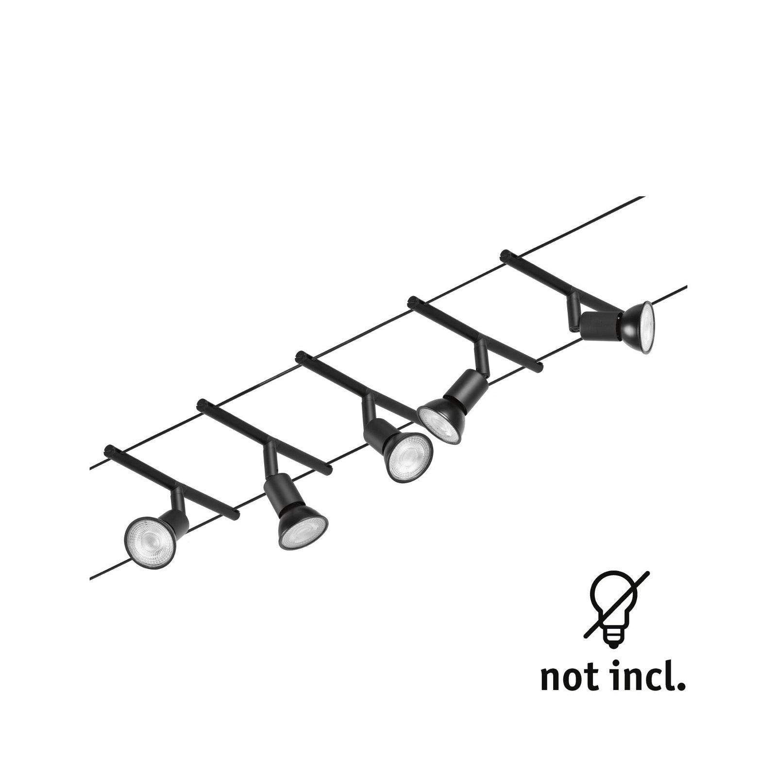 Cable system Salt Basic Set GU5,3 max. 5x10W 230/12V Black matt/Chrome