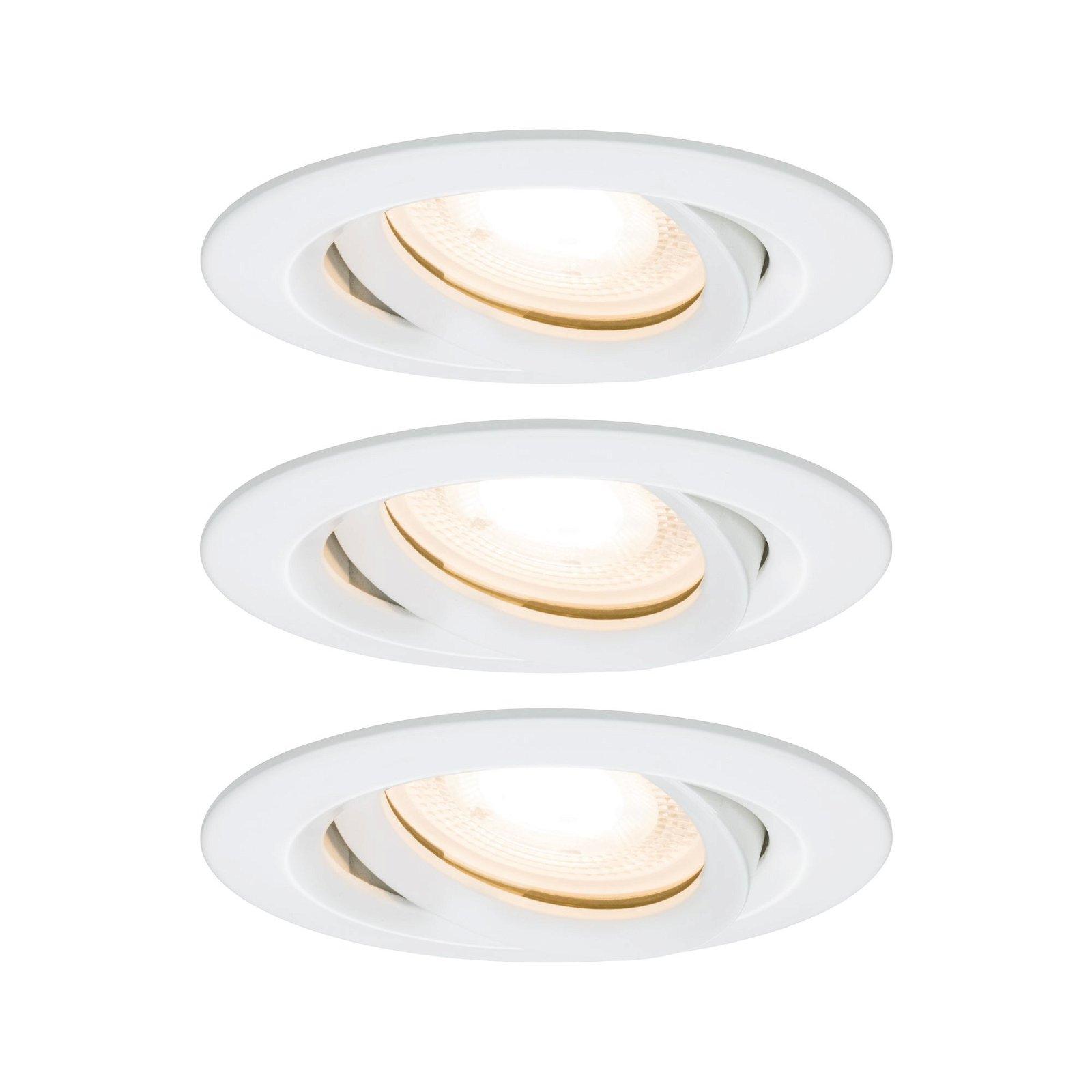 LED Einbauleuchte Nova Plus Basisset schwenkbar IP65 rund 93mm 30° GU10 3x7W 230V 2700K Weiß matt