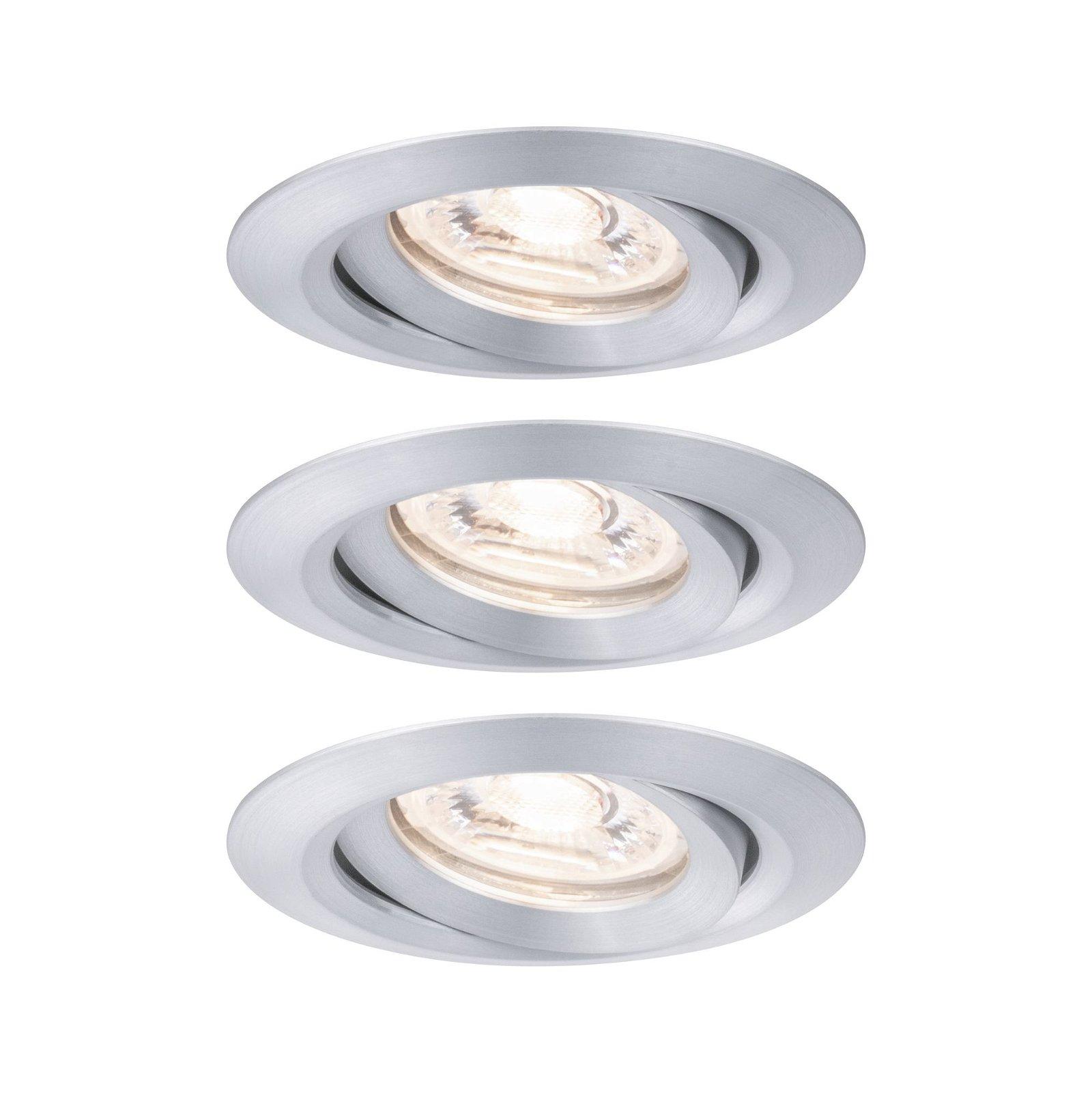 LED Einbauleuchte Nova Mini Coin Basisset schwenkbar rund 66mm 15° Coin 3x4W 3x310lm 230V 2700K Alu gedreht