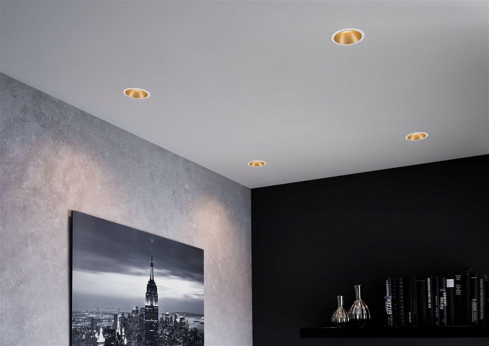 LED-inbouwlamp 3-Step-Dim Cole Coin Basisset IP44 rond 88mm Coin 3x6W 3x470lm 230V 2700K Wit/Goud mat