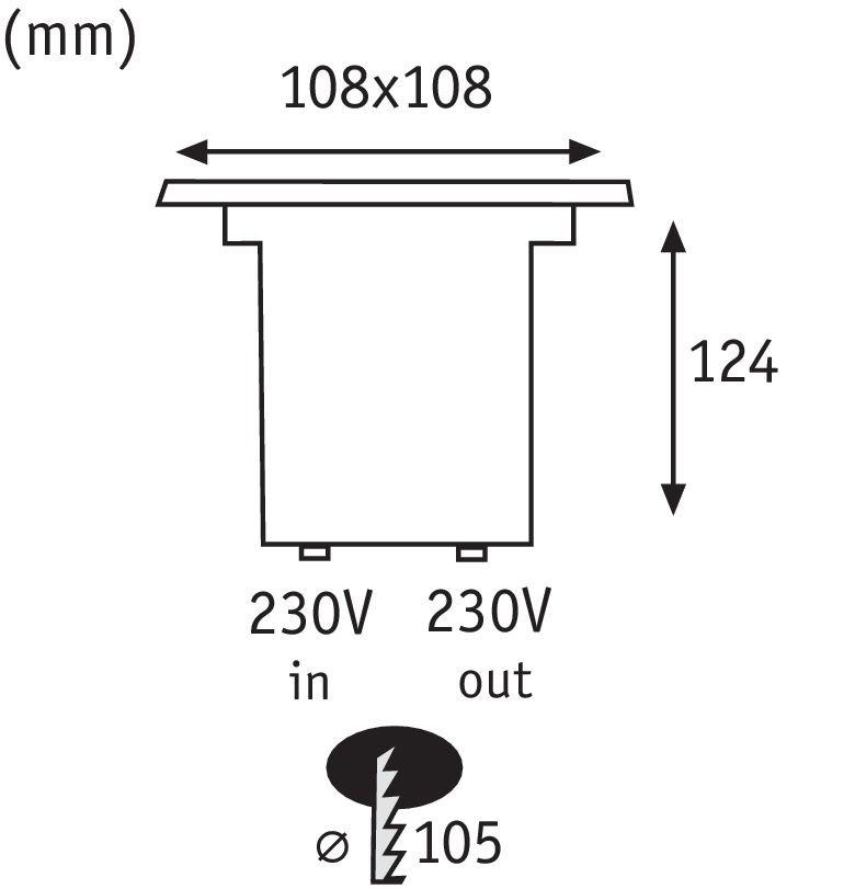 Special Line LED Bodeneinbauleuchte IP67 eckig 108x108mm 3,5W 230V Edelstahl Metall