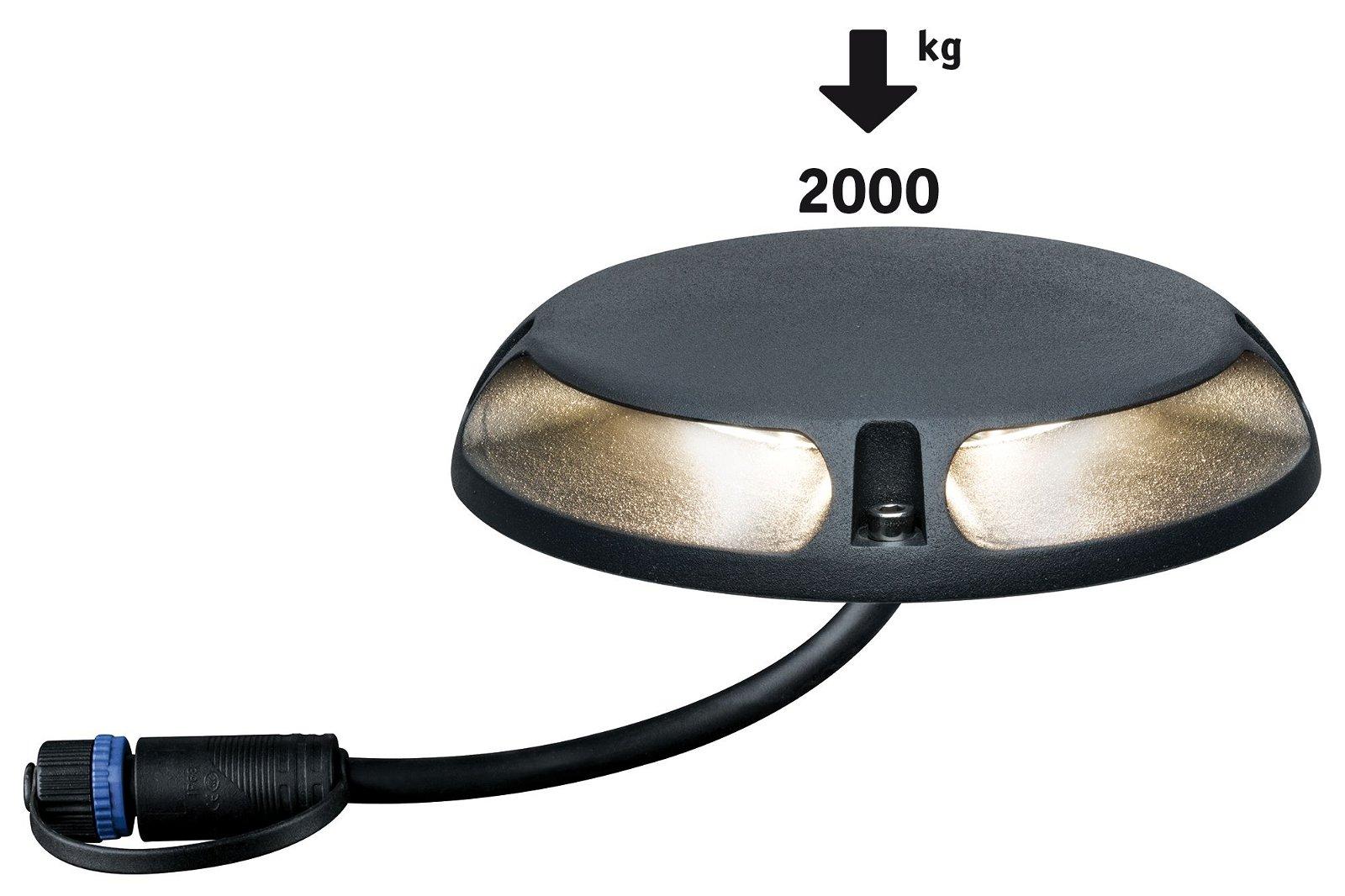 Plug & Shine Luminaire encastré à poser sur le sol LED Blanc chaud Émission lumineuse double, 180° IP67 3000K 2x3W Anthracite