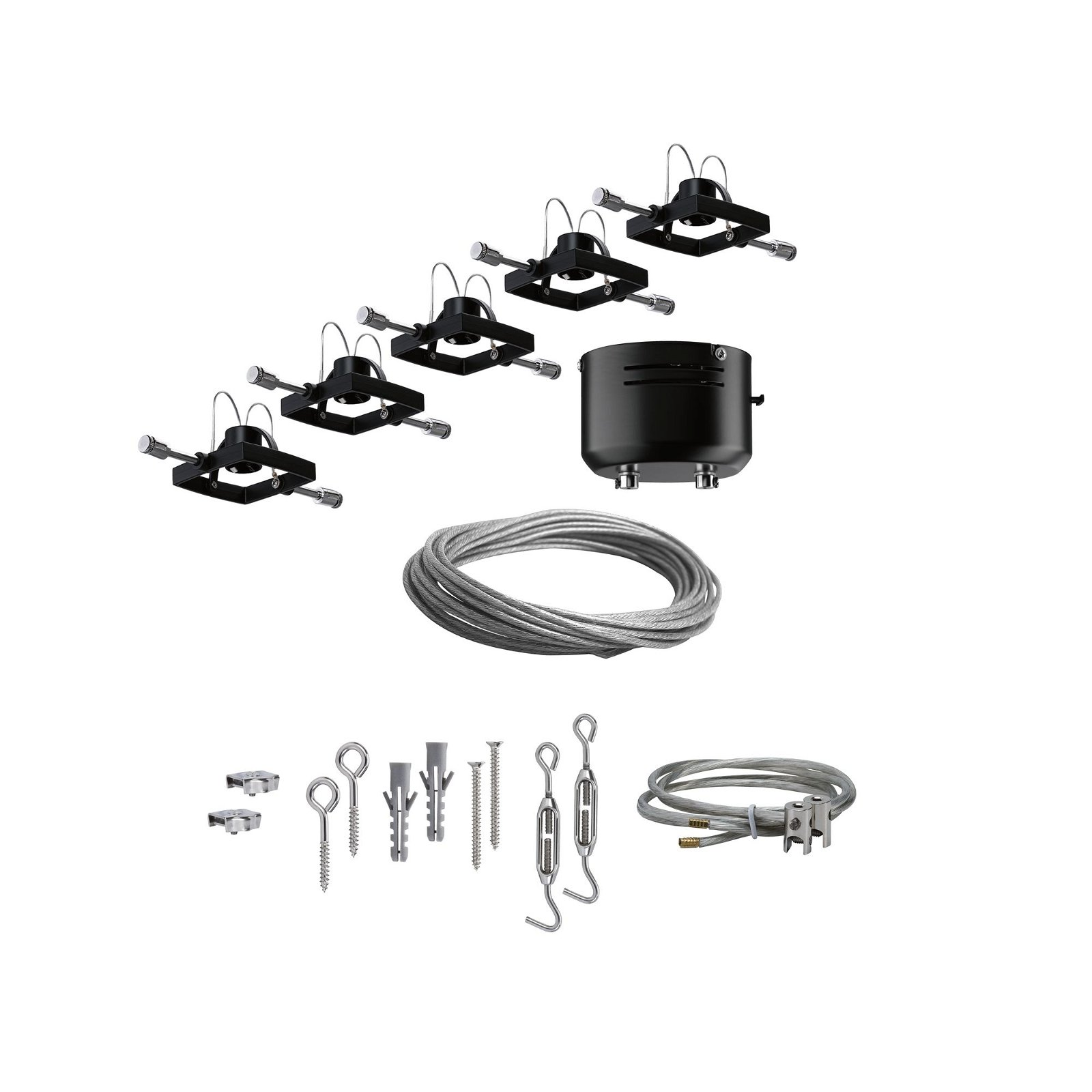 Seilsystem Mac II Basisset GU5,3 max. 5x10W 230/12V Schwarz matt