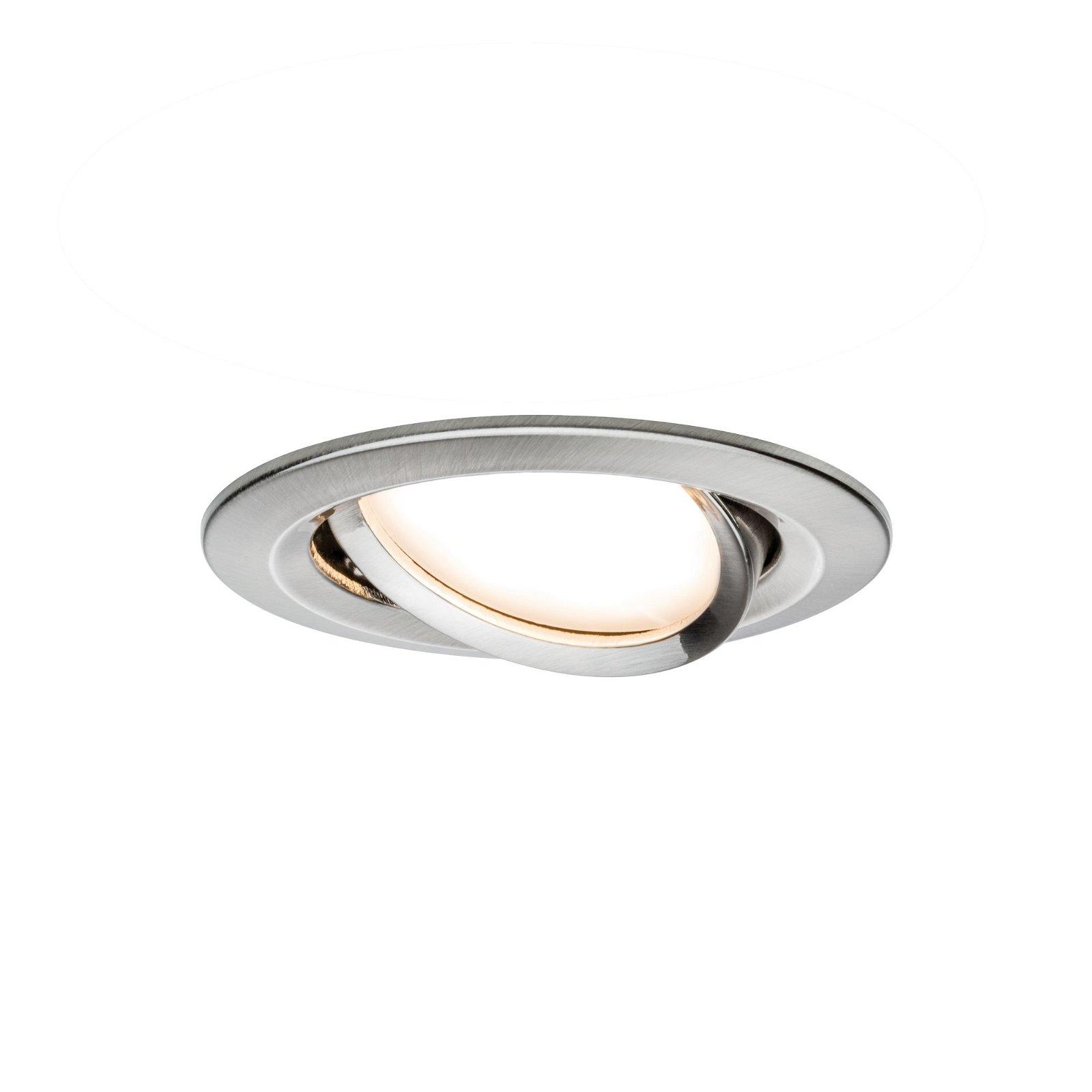 LED-inbouwlamp Nova Coin Basisset zwenkbaar rond 84mm 50° Coin 3x6W 3x470lm 230V 2700K Staal geborsteld