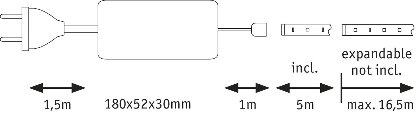 MaxLED 500 Strip LED Blanc chaud 5m 33W 550lm/m 2700K 75VA