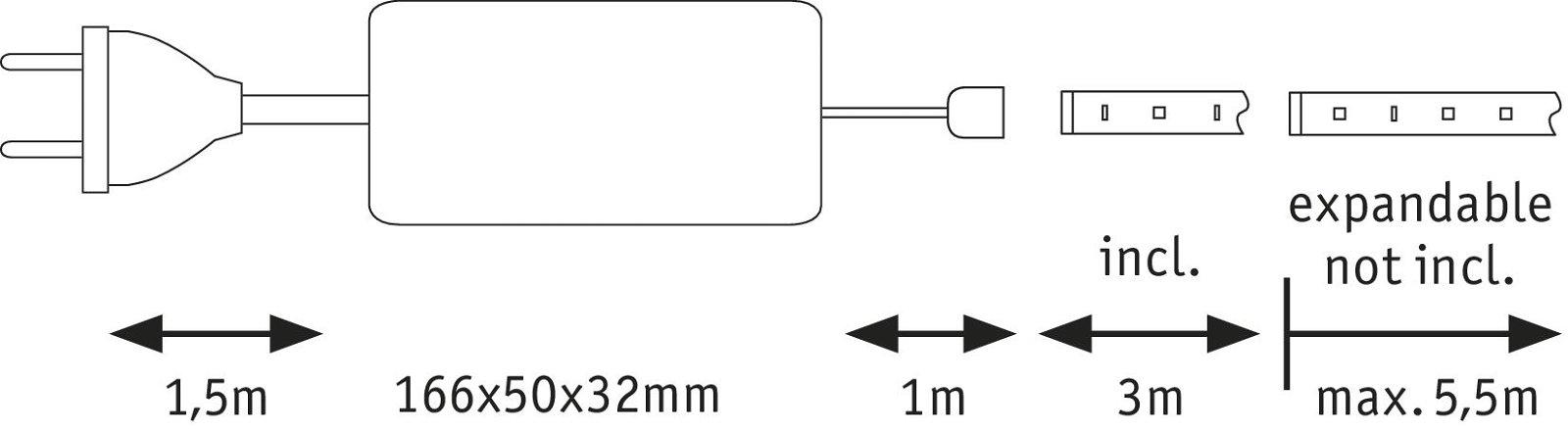 MaxLED 1000 LED Strip Daglichtwit 3m gecoat 35W 3300lm 6500K 40VA