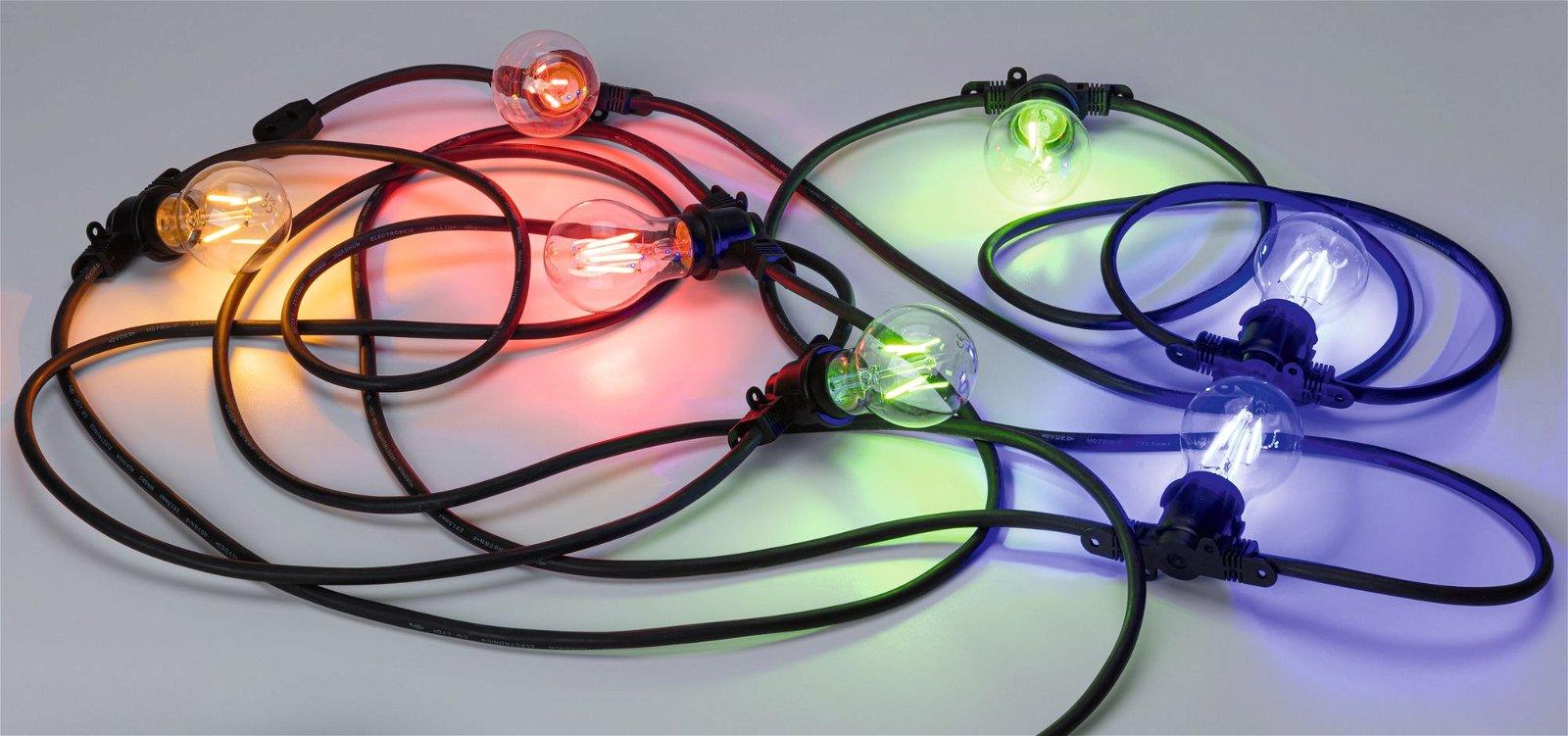 Lichterkette IP44 E27 8,6m max. 7x10W 230V Schwarz