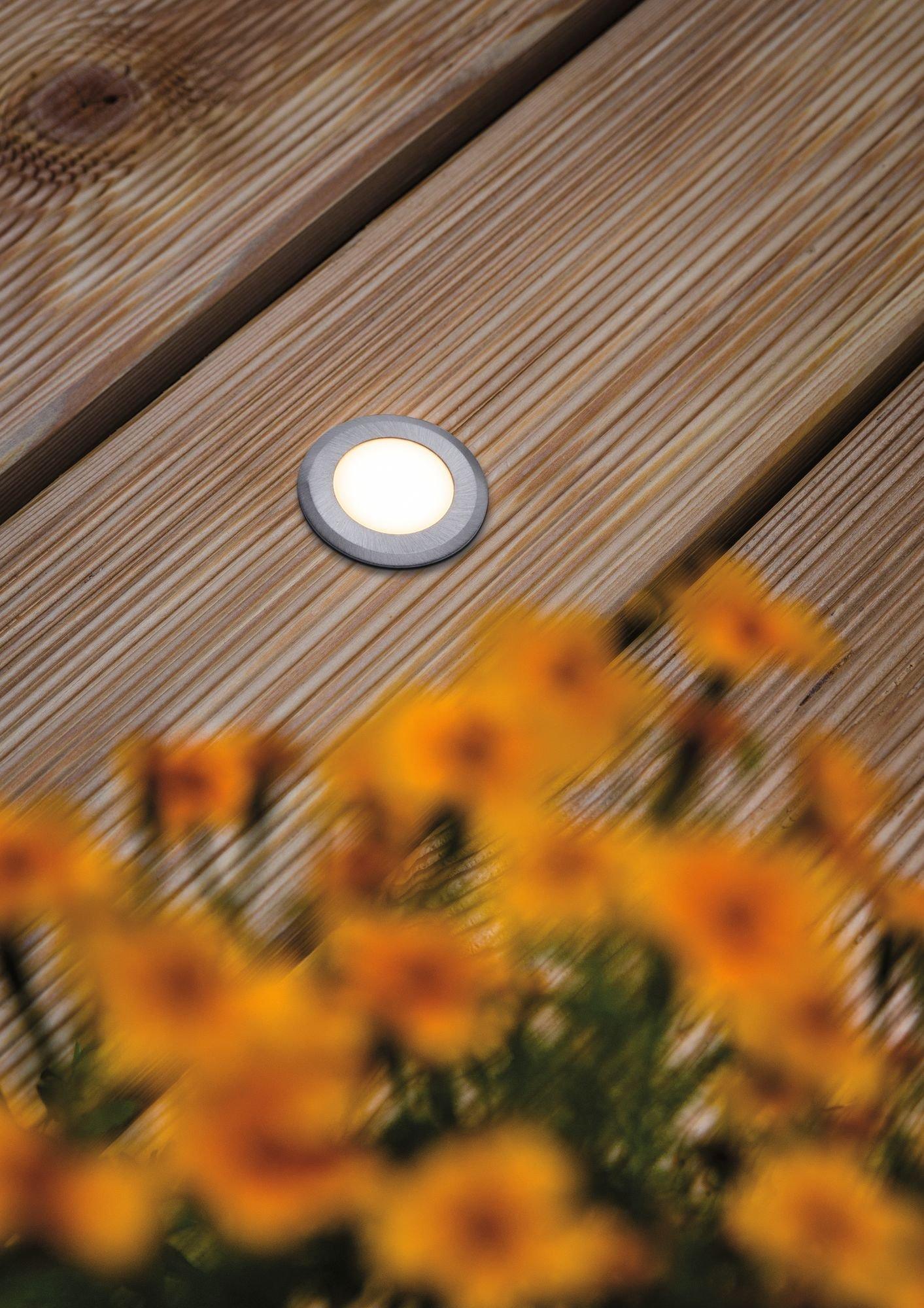 House Encastré de sol LED IP65 rond 50mm 3000K 2W 210lm 230V Acier inoxydable brossé Acier inoxydable/Matière plastique