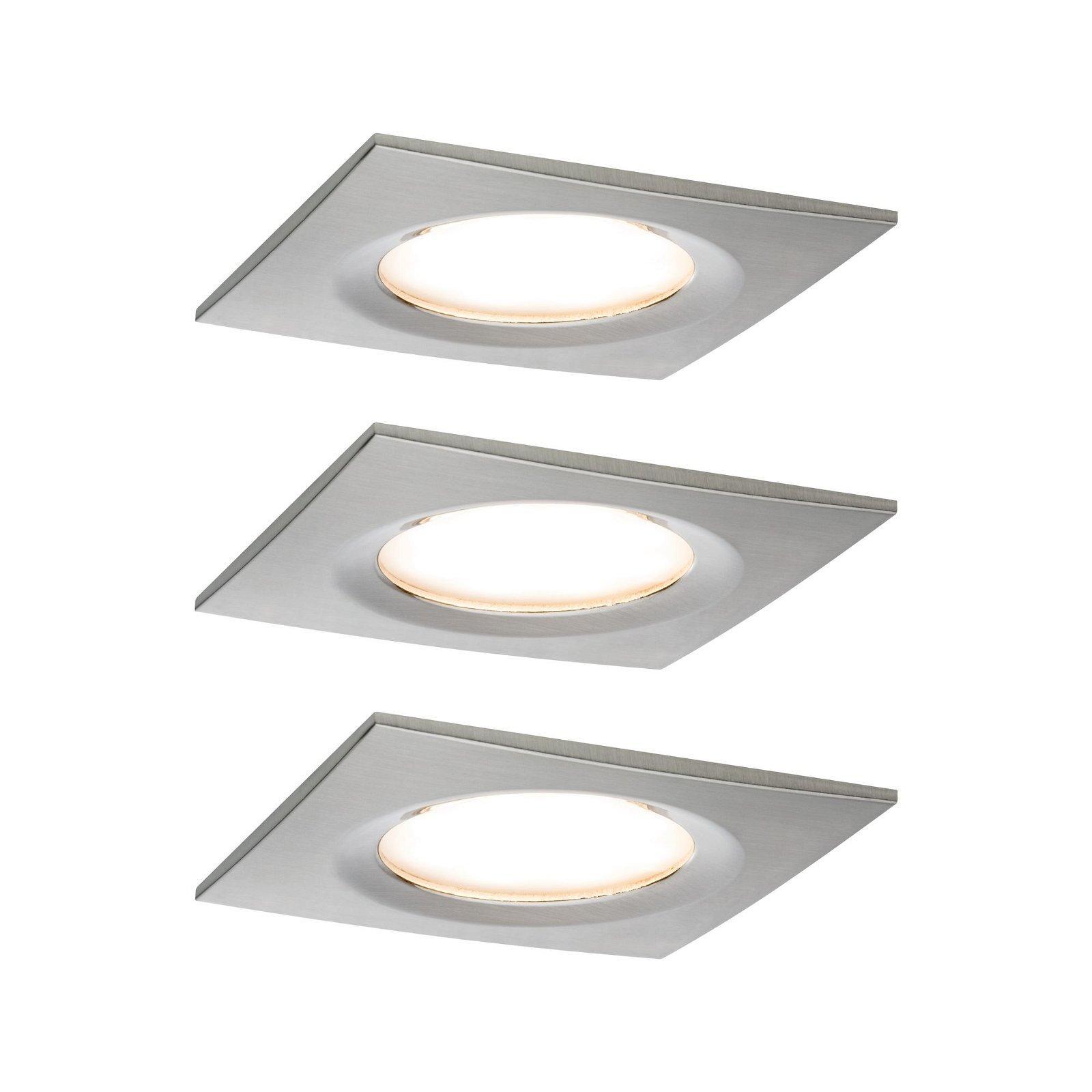 Premium LED Einbauleuchte Slim 3er-Set starr IP44 eckig 78x78mm Coin 3x6,8W 3x633lm 230V 2700K Eisen gebürstet