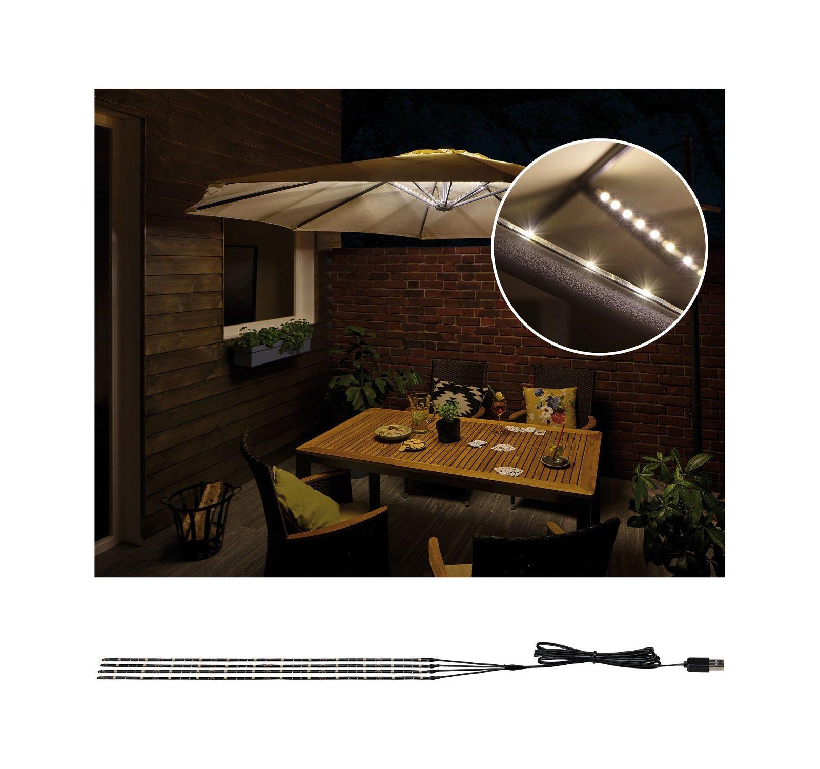 Strip USB LED Éclairage parasol Parasol-Light Kit de base 4m 3000K Noir