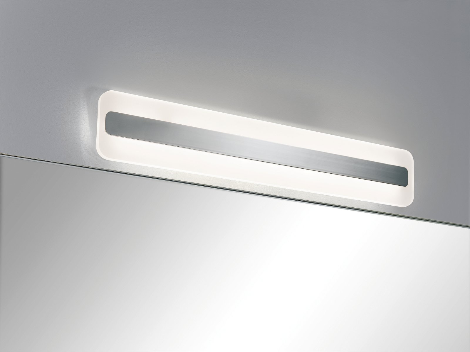 LED Spiegelleuchte Lukida IP44 3000K 650lm 230V 9W Chrom/Weiß