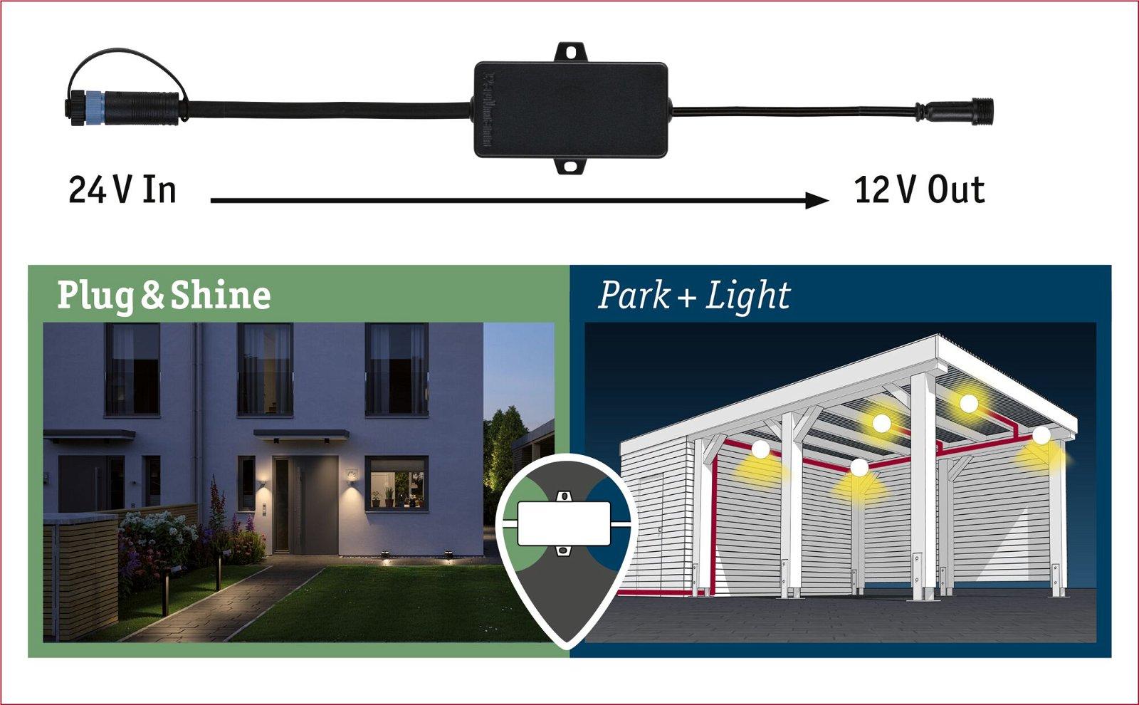 Park + Light Verdeler IP67 Zwart