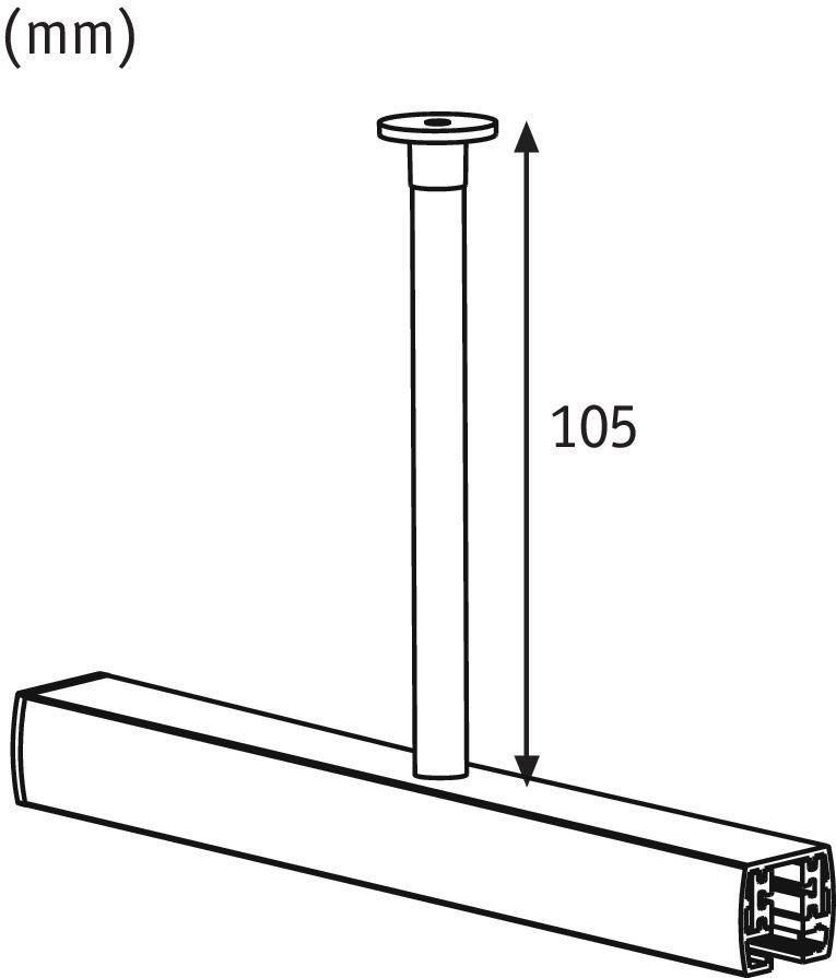 URail Accessoires Suspension de rail 23mm Chrome mat