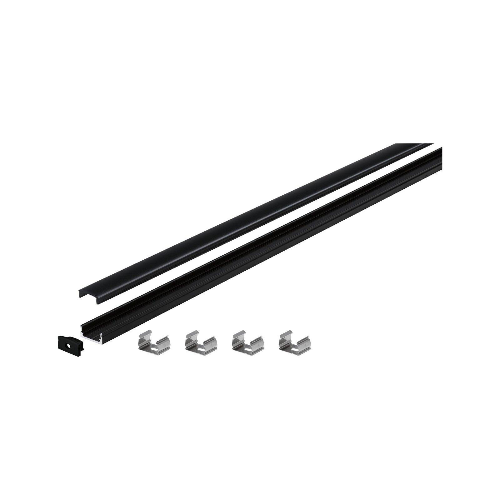 LED Strip profiel Base Zwarte diffusor 2m Zwart