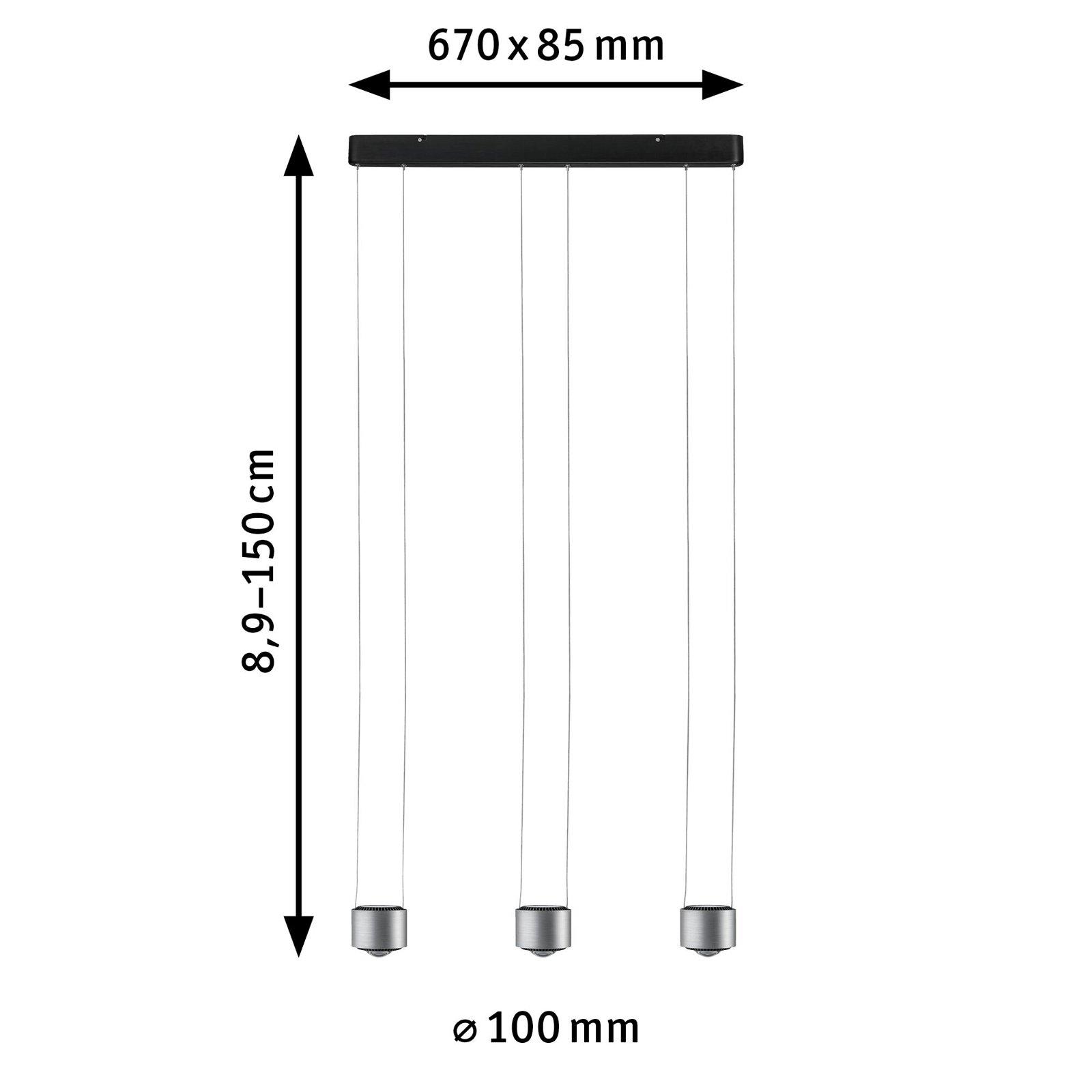 LED Pendelleuchte Aldan 2700K 3x1570lm 3x5 / 3x4W Schwarz/Alu gebürstet