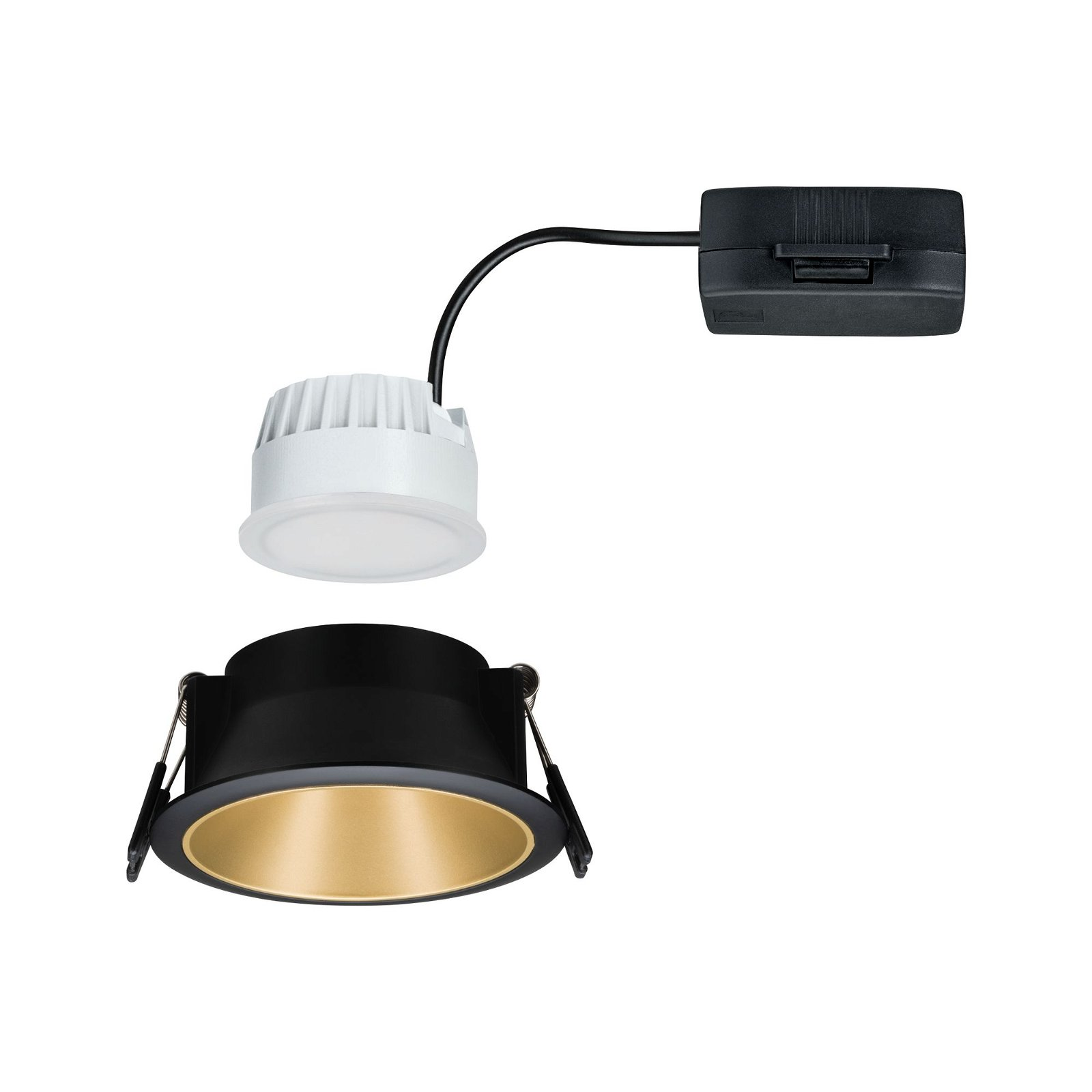 LED Recessed luminaire Cole IP44 round 88mm Coin 6,5W 460lm 230V 2700K Black/Gold matt