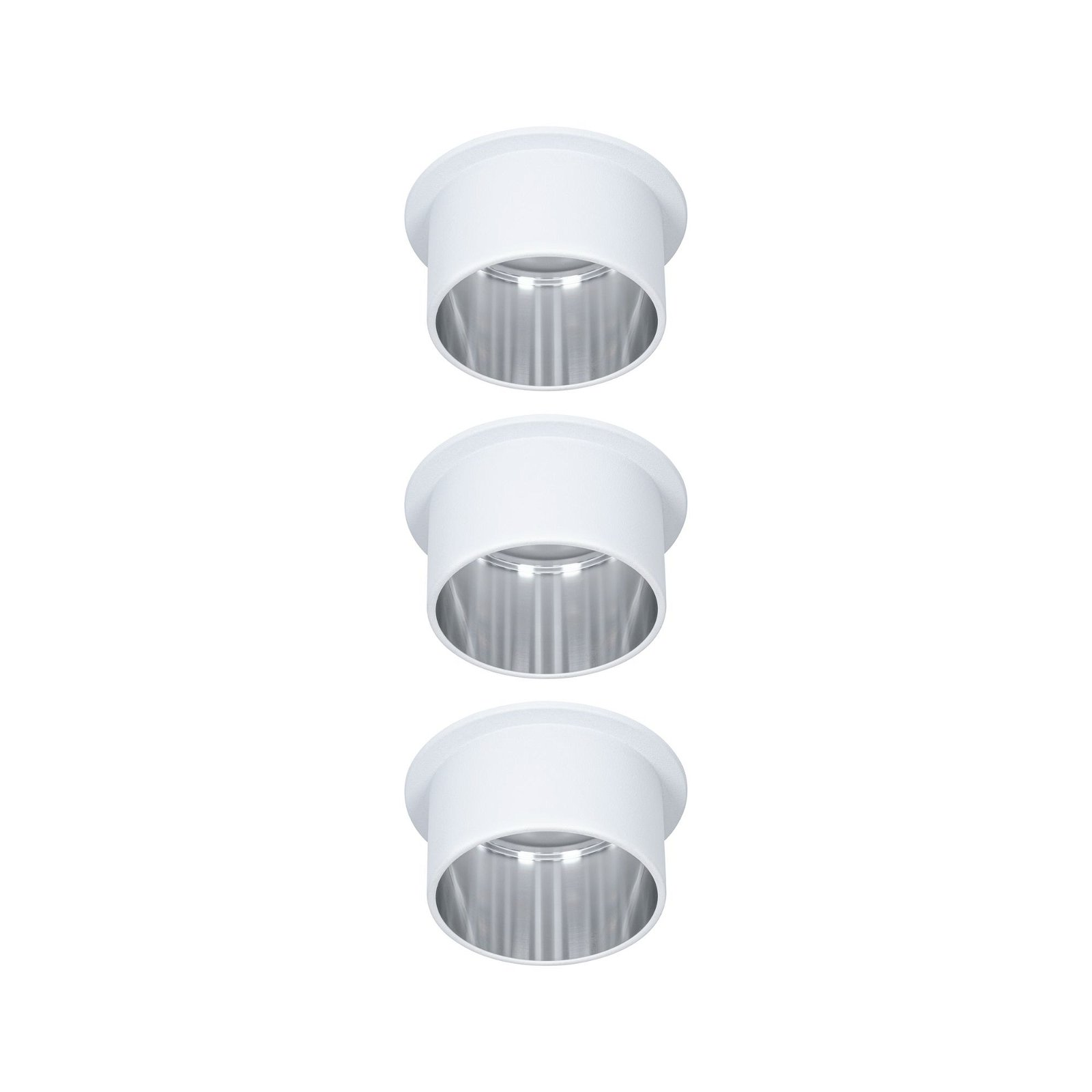 Spot encastré LED 3-Step-Dim Gil Coin Kit de base IP44 rond 68mm Coin 3x6W 3x470lm 230V 2700K Blanc dépoli/Acier brossé